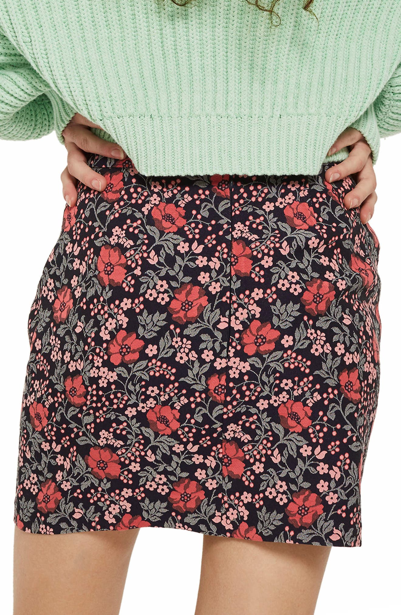 Poppy Jacquard Miniskirt,                             Alternate thumbnail 2, color,                             Pink Multi