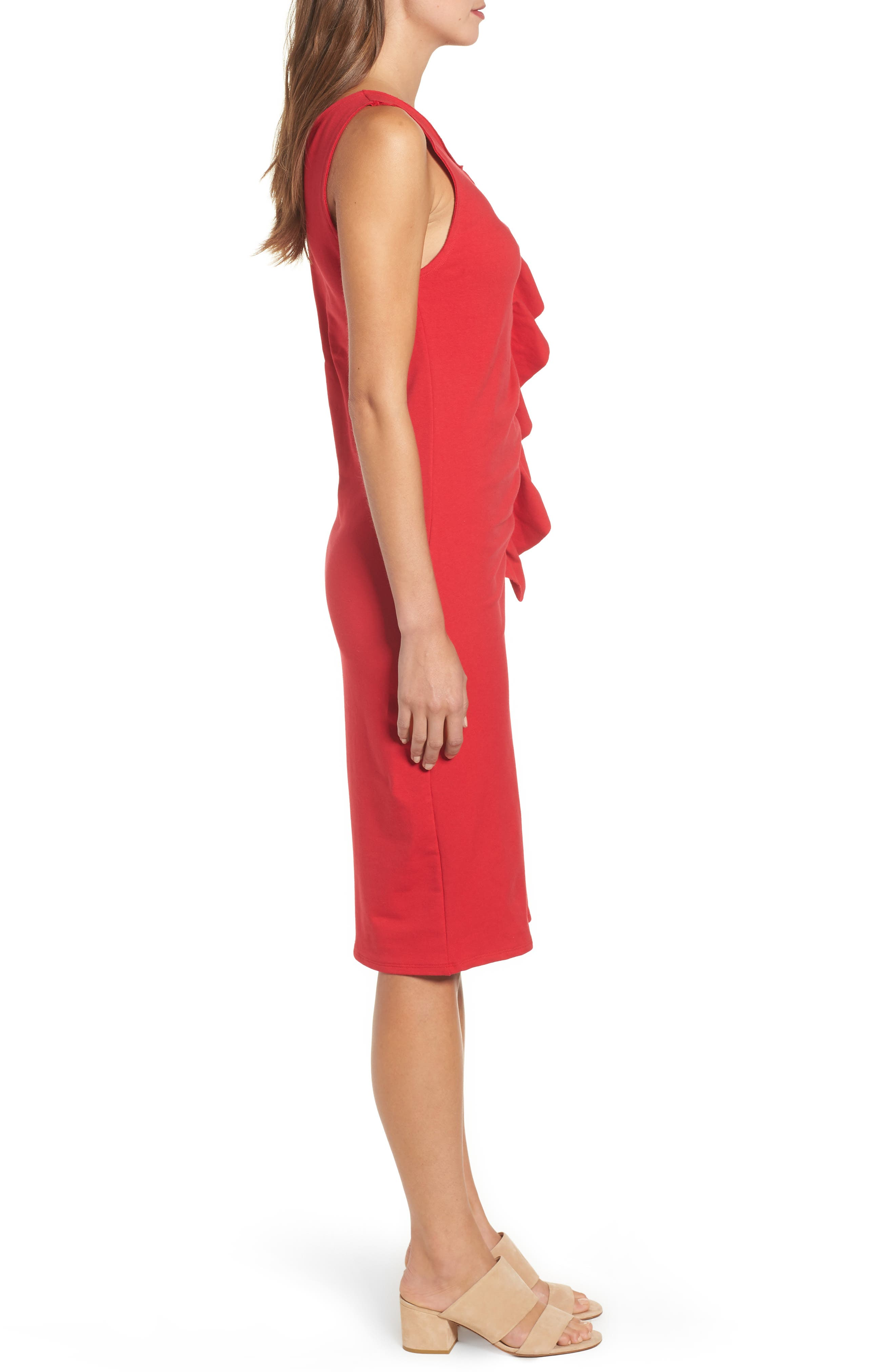 French Terry Ruffle Front Dress,                             Alternate thumbnail 3, color,                             Red Tomato