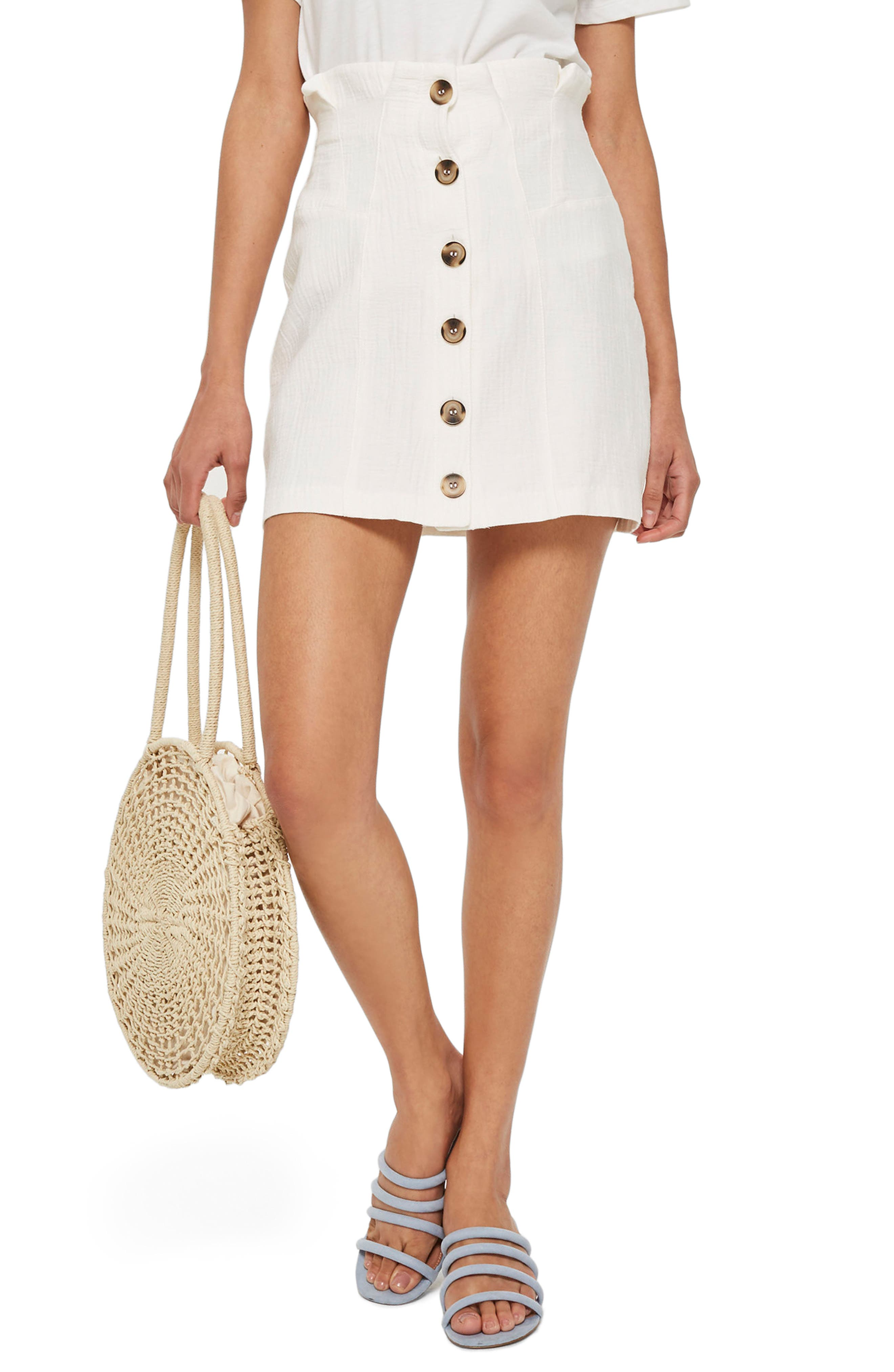 Paperbag Waist Button Front Skirt,                         Main,                         color, Ivory
