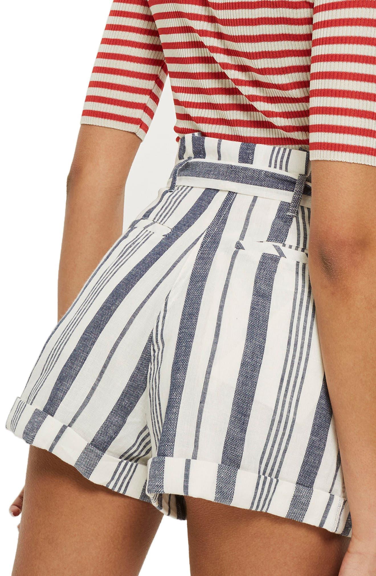 Stripe Paperbag Shorts,                             Alternate thumbnail 2, color,                             Ivory Multi