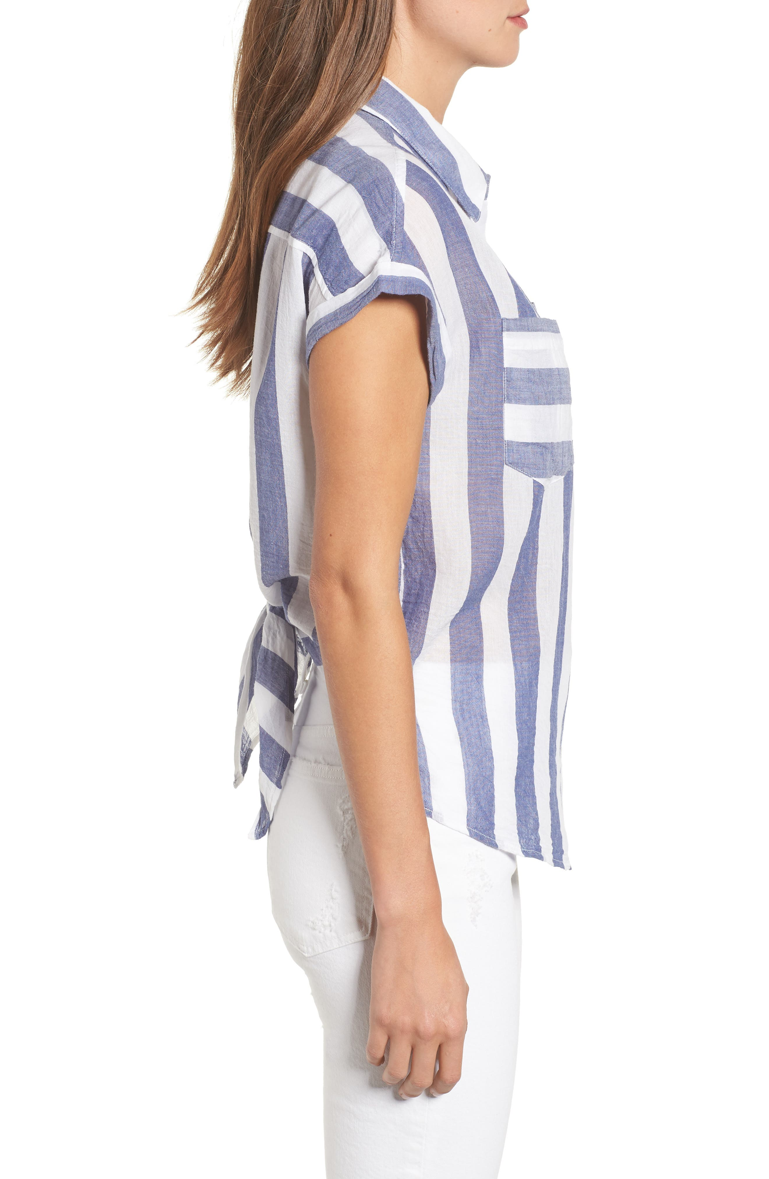 Stripe Tie Back Crinkle Cotton Top,                             Alternate thumbnail 3, color,                             Blue Multi