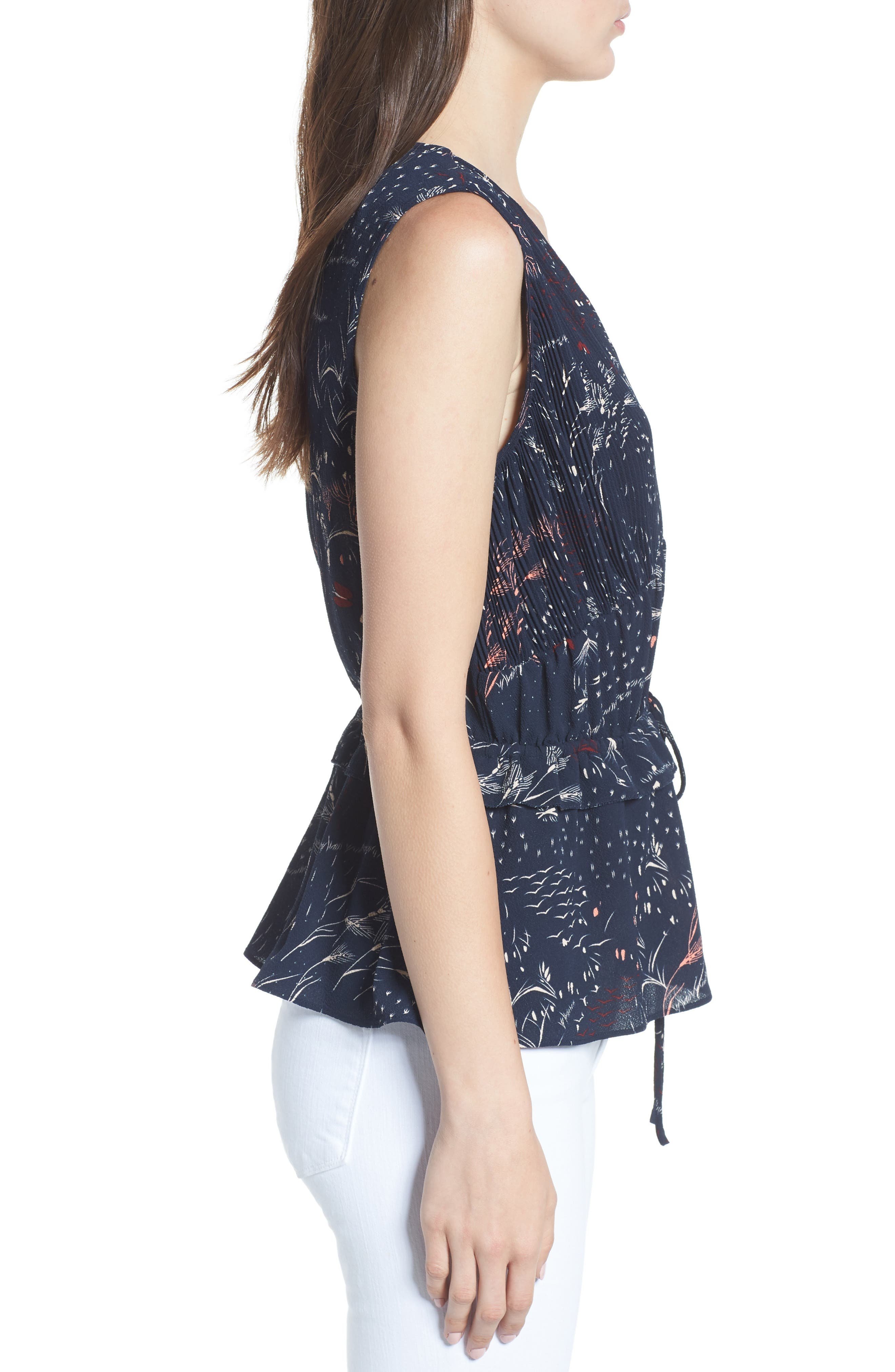 Pleated Tank,                             Alternate thumbnail 3, color,                             Navy Blazer Feather Grass