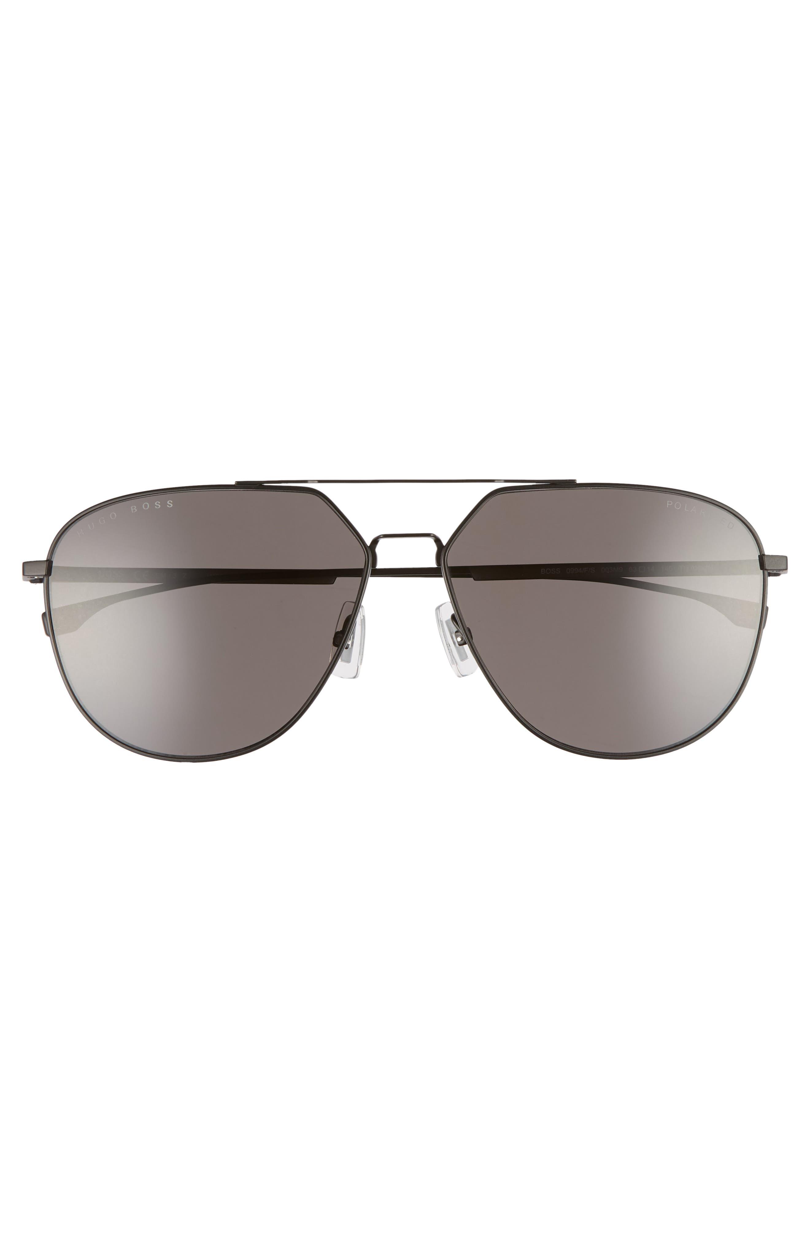 63mm Polarized Aviator Sunglasses,                             Alternate thumbnail 2, color,                             Matte Black