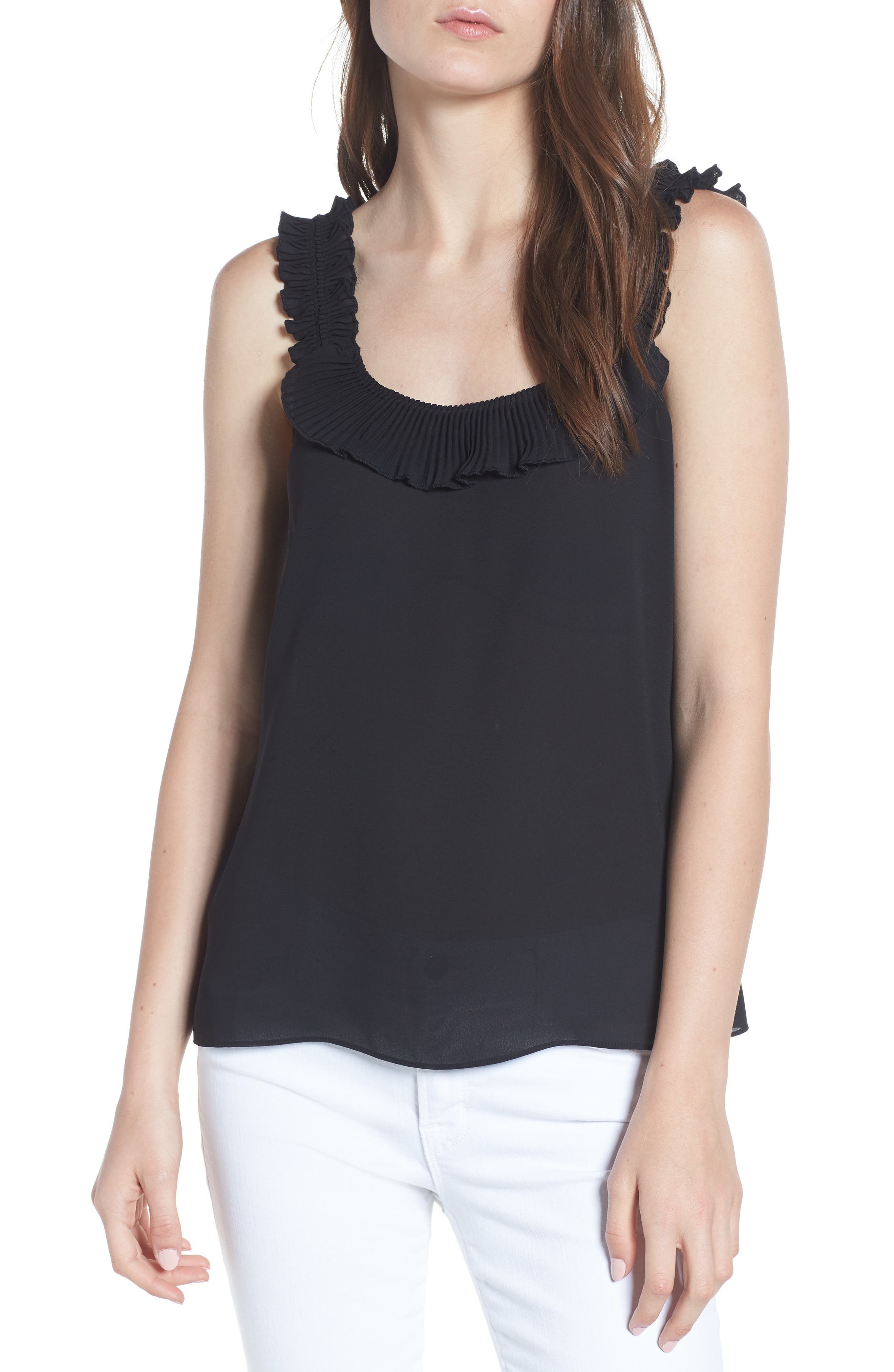 Ruffle Pleated Tank,                             Main thumbnail 1, color,                             Black