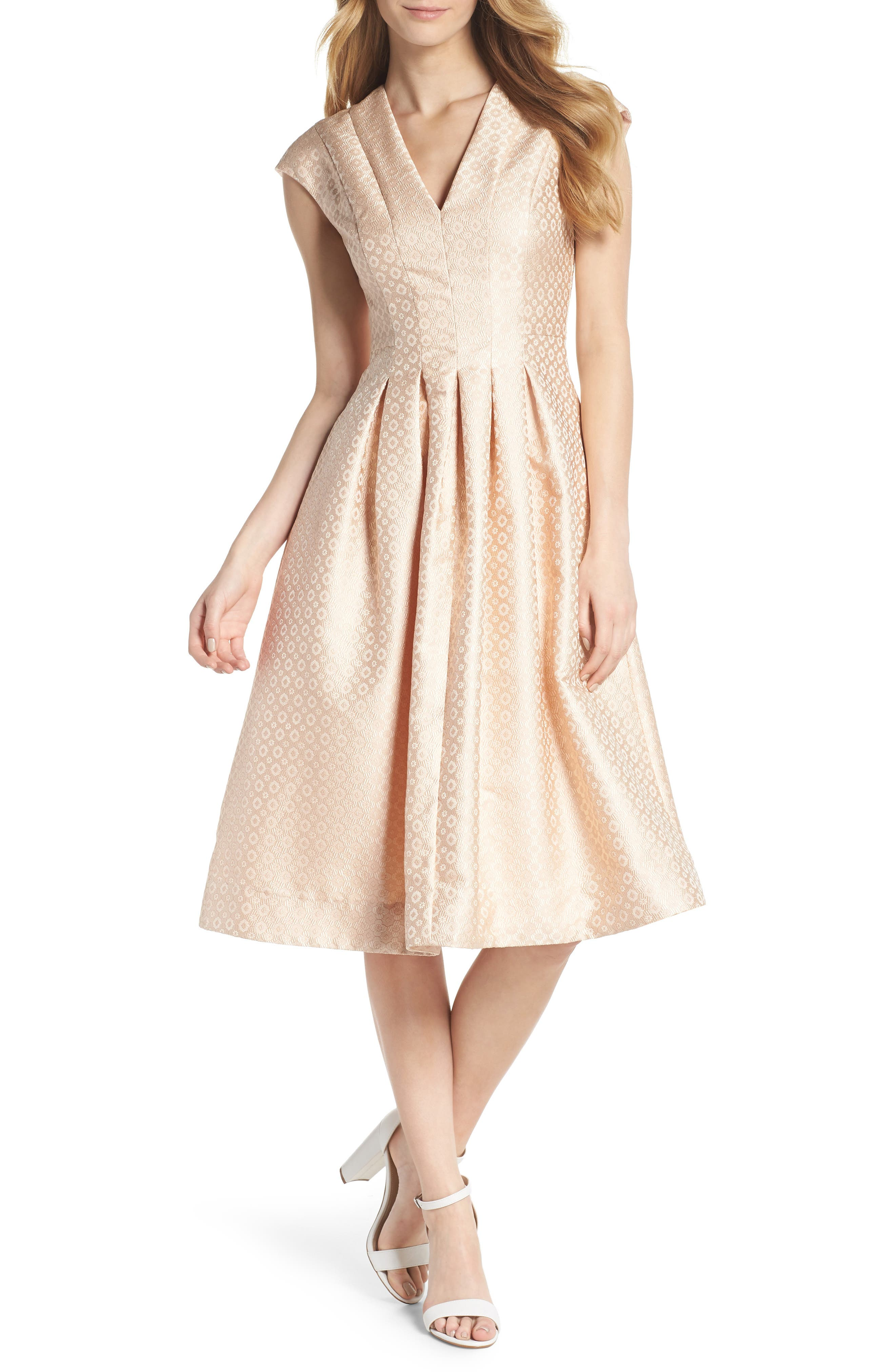 Grace Pleated Jacquard Fit & Flare Dress,                             Main thumbnail 1, color,                             Cream