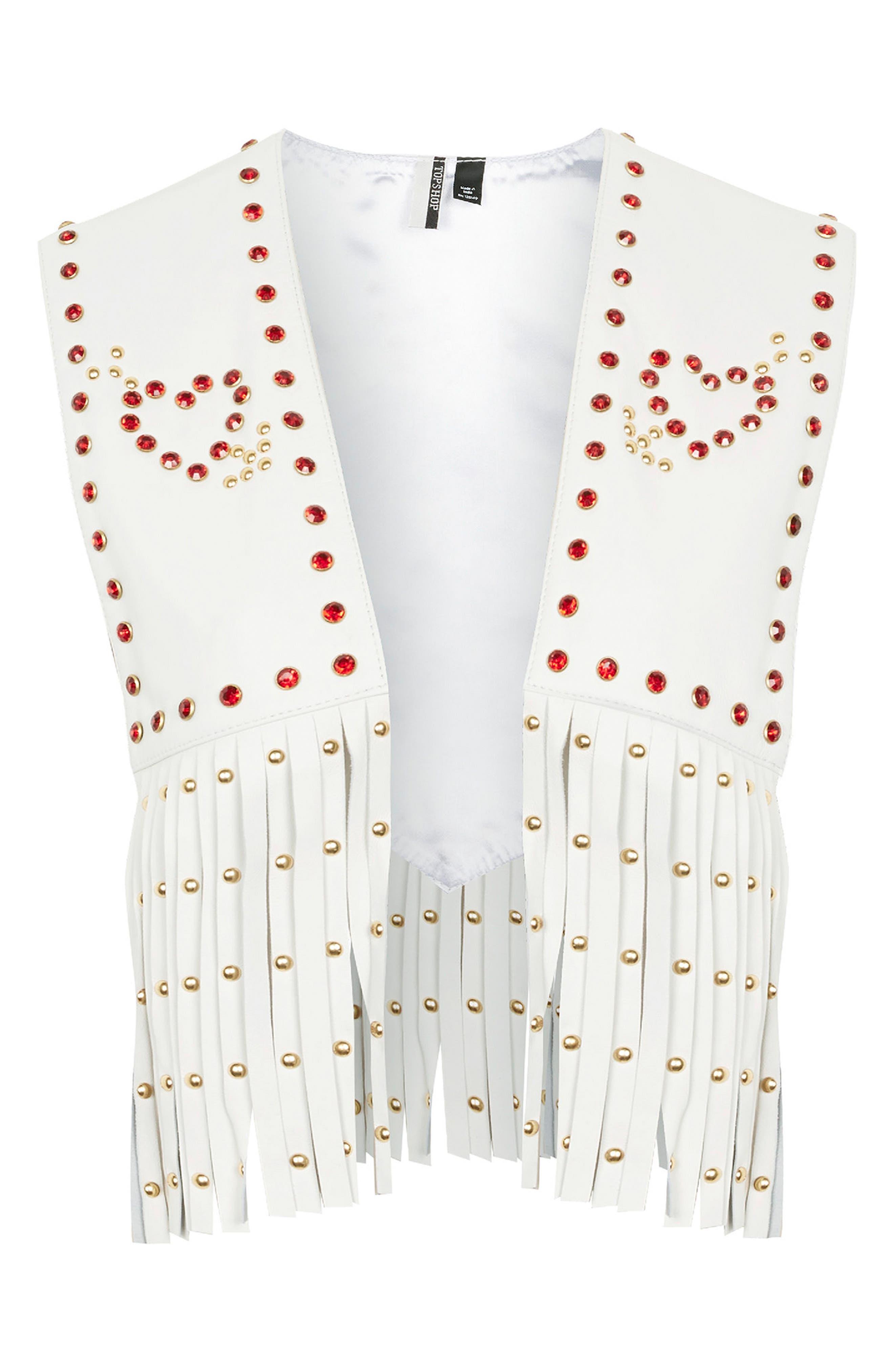 Sacred Heart Festival Leather Waistcoat,                             Alternate thumbnail 4, color,                             White Multi