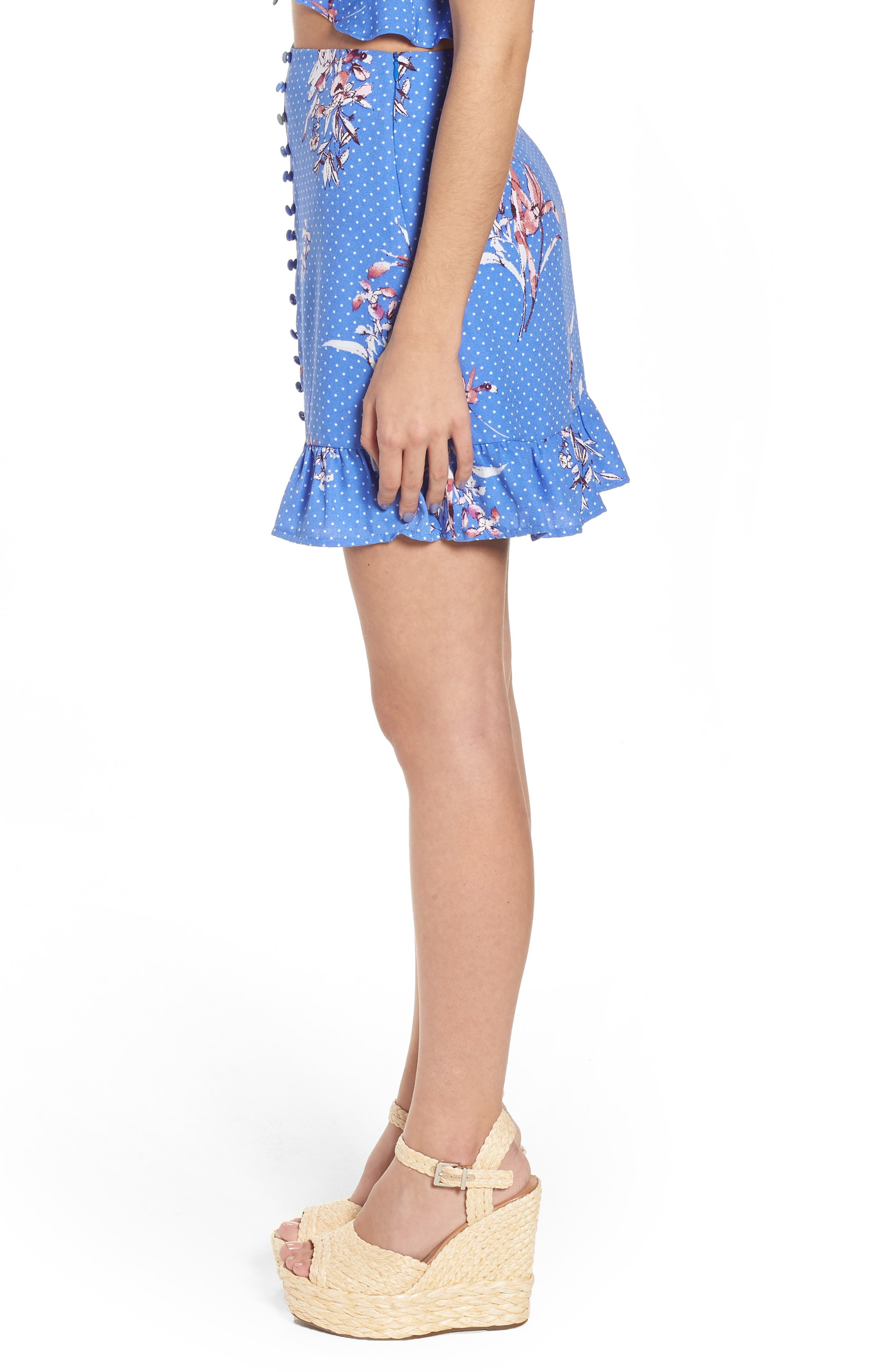 Vanessa Ruffle Hem Skirt,                             Alternate thumbnail 4, color,                             Blue