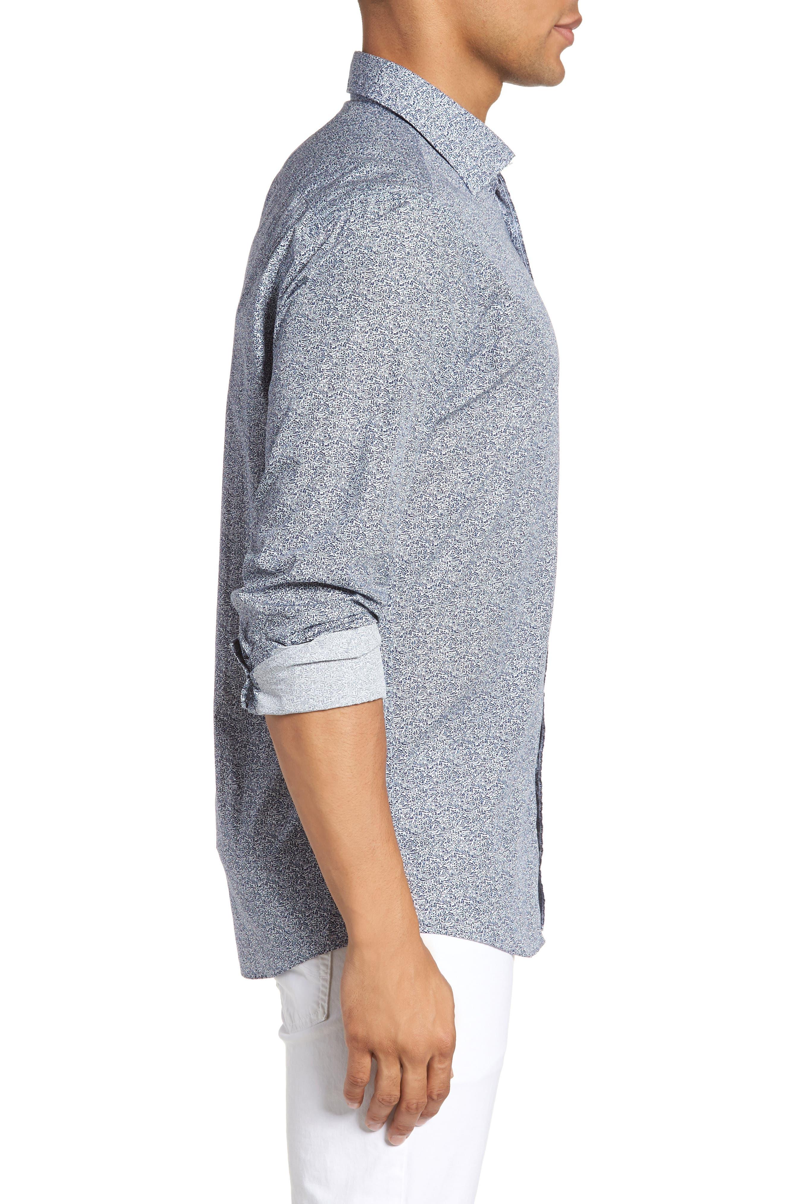 Massey West Slim Fit Sport Shirt,                             Alternate thumbnail 4, color,                             Ink