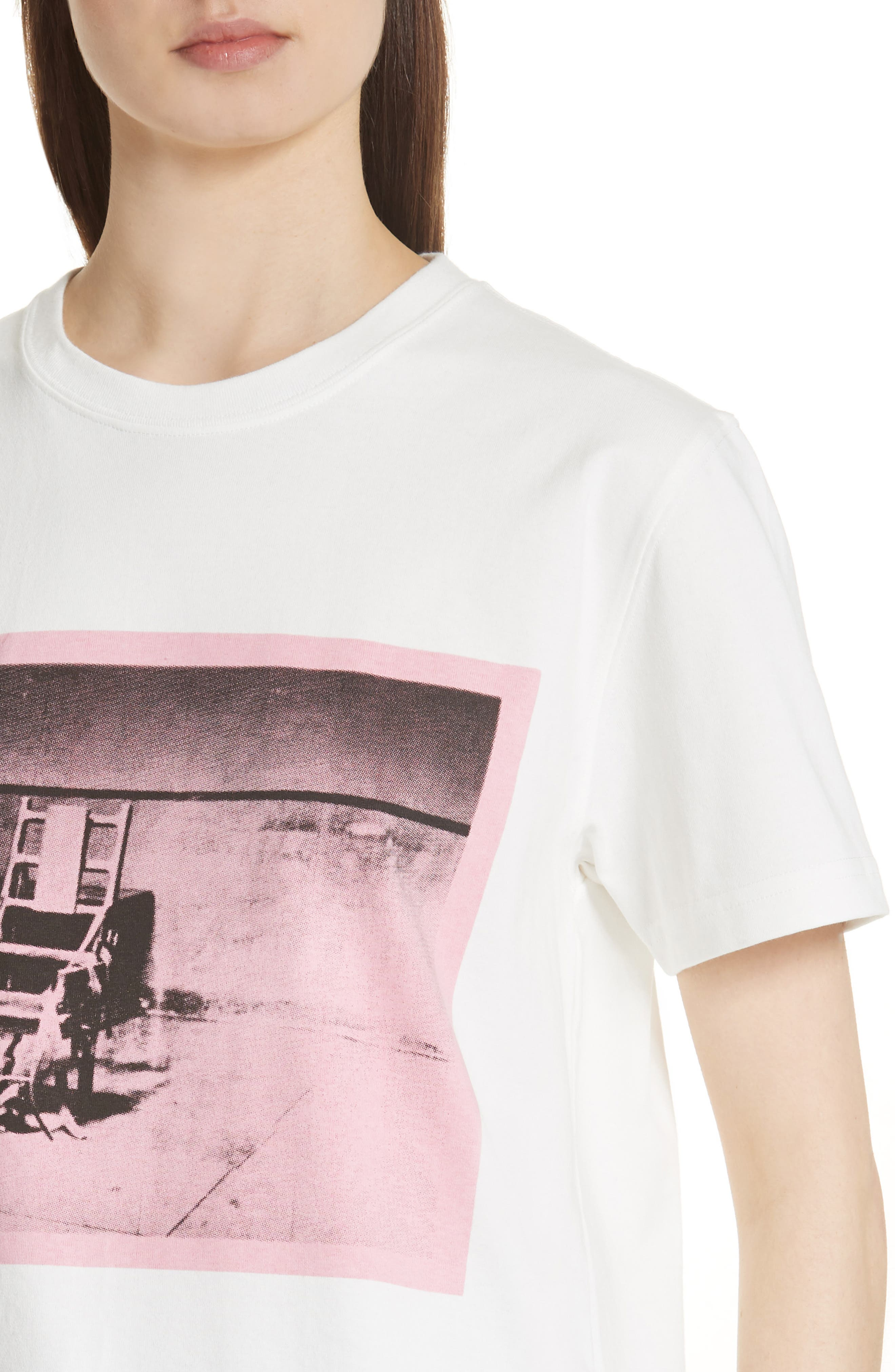 x Andy Warhol Foundation Electric Chair Graphic Tee,                             Alternate thumbnail 4, color,                             White/ Pink/ Green