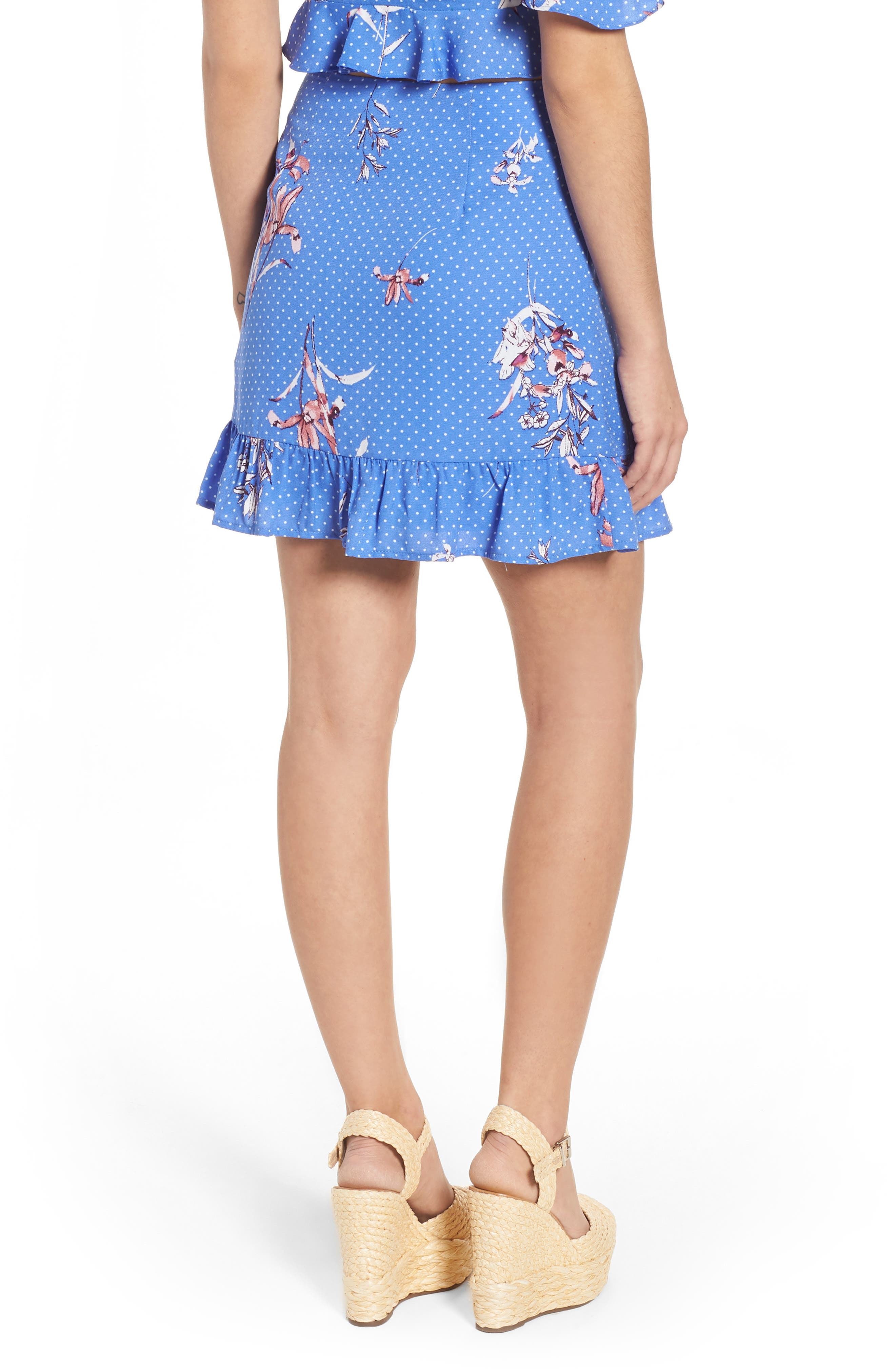 Vanessa Ruffle Hem Skirt,                             Alternate thumbnail 3, color,                             Blue