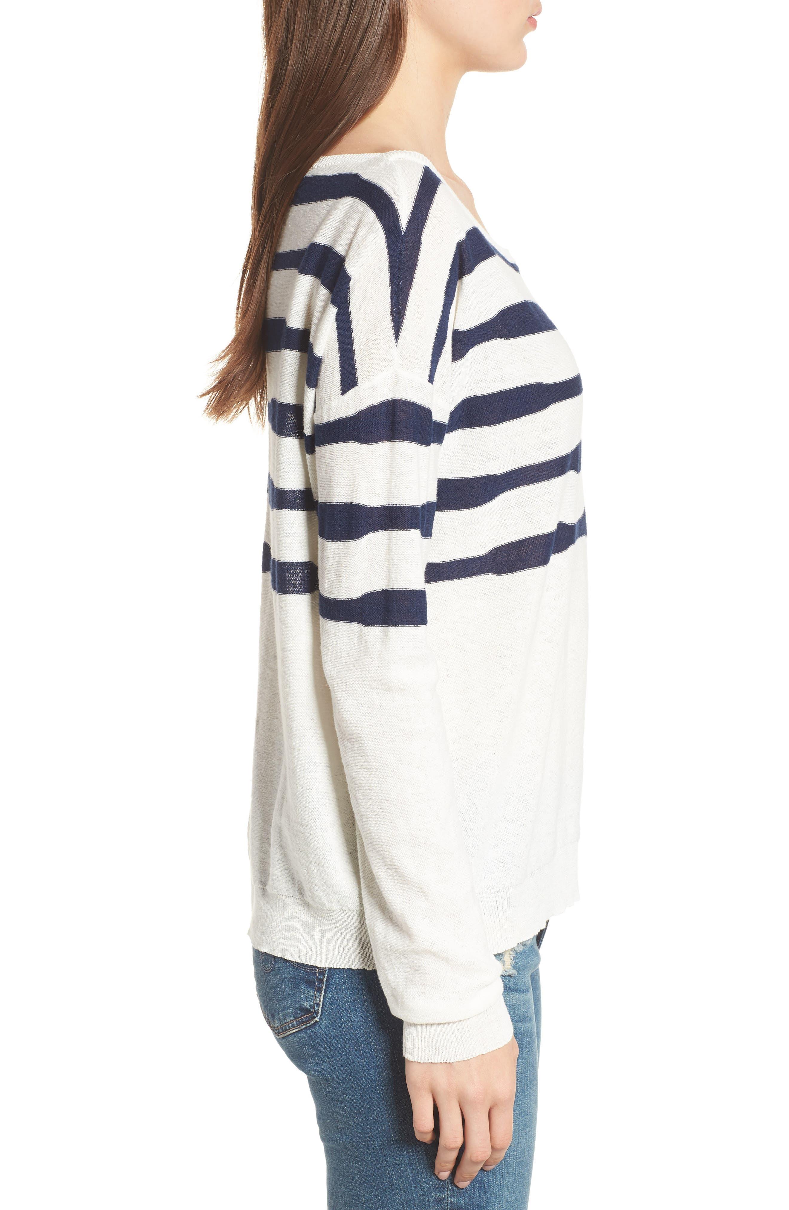 Stripe Linen & Cotton Sweater,                             Alternate thumbnail 3, color,                             Natural/ Navy