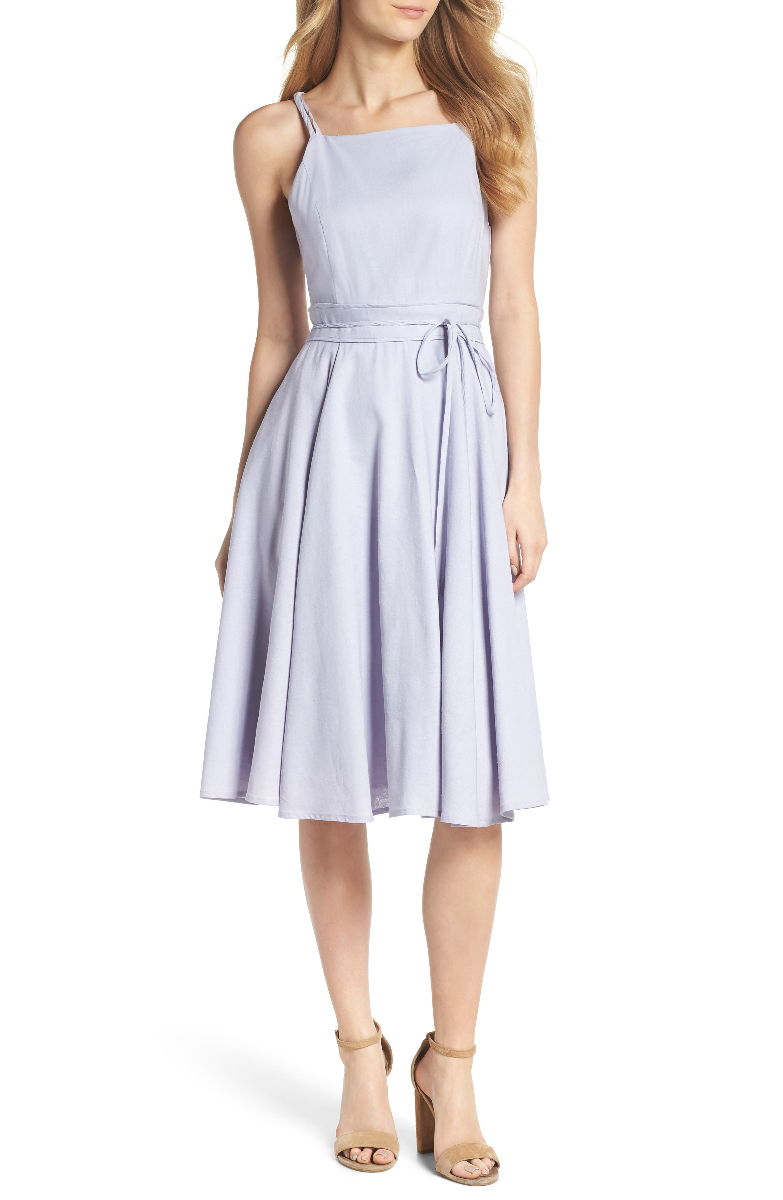Gal Meets Glam Collection Caroline Linen Blend Fit & Flare Dress (Nordstrom Exclusive)