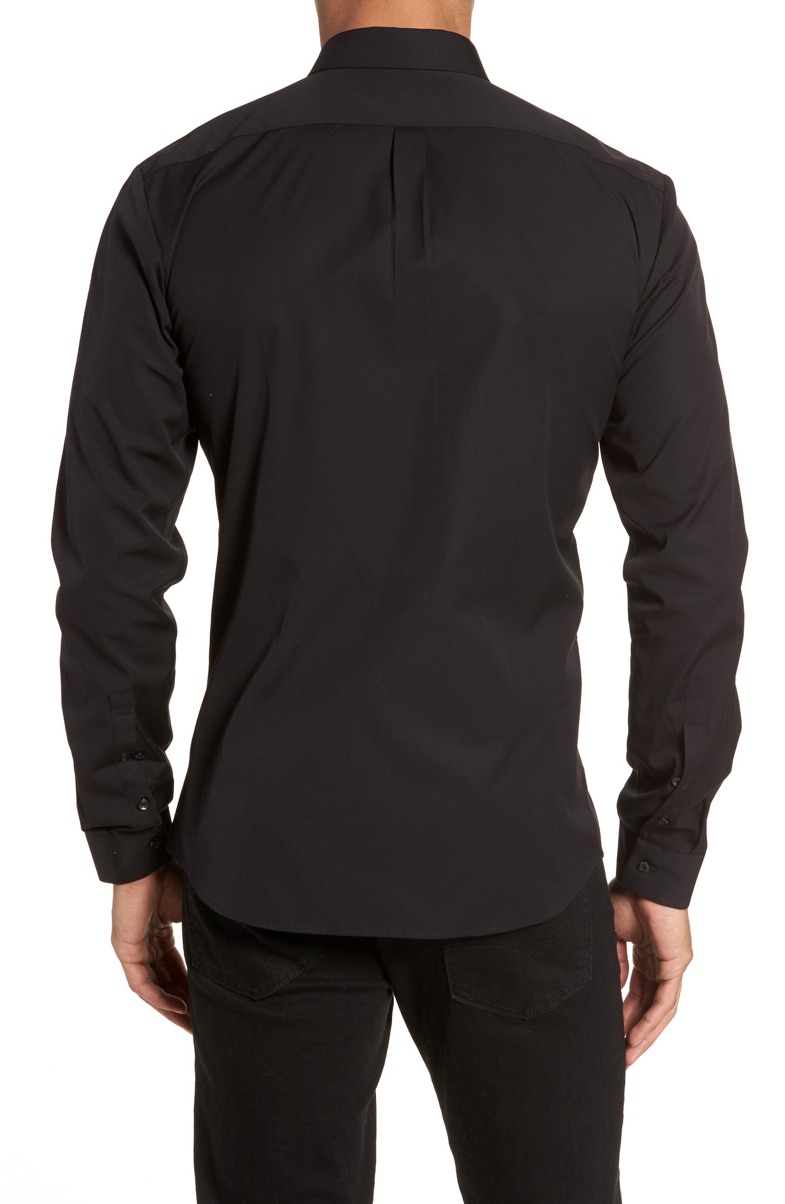Ero Slim Fit Solid Cotton Sport Shirt,                             Alternate thumbnail 2, color,                             Black