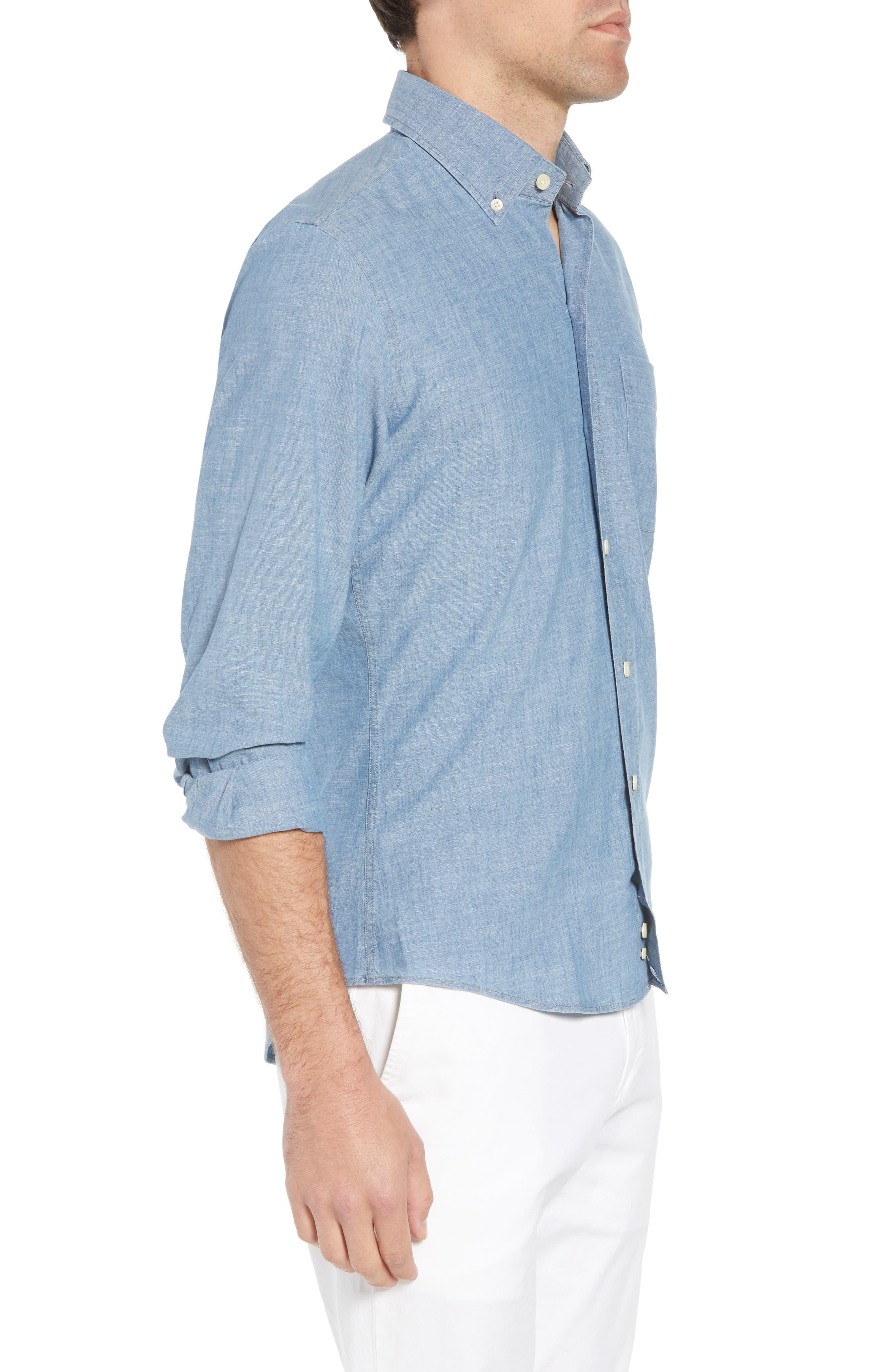 Ancroft Slim Fit Chambray Sport Shirt,                             Alternate thumbnail 3, color,                             Blue