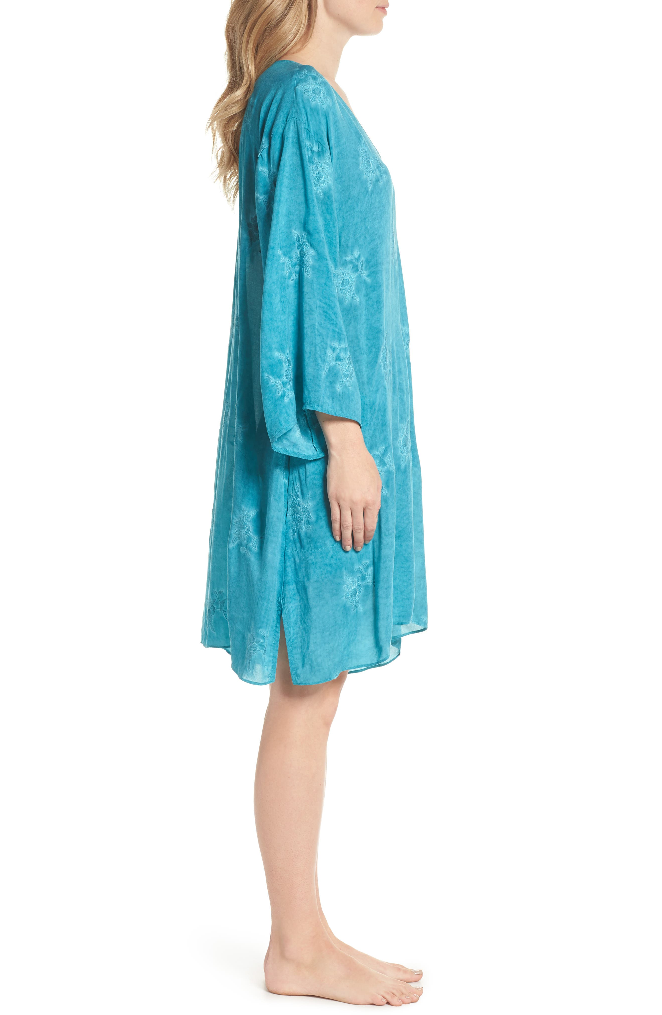 Jaipur Embroidered Voile Caftan,                             Alternate thumbnail 3, color,                             Turquoise