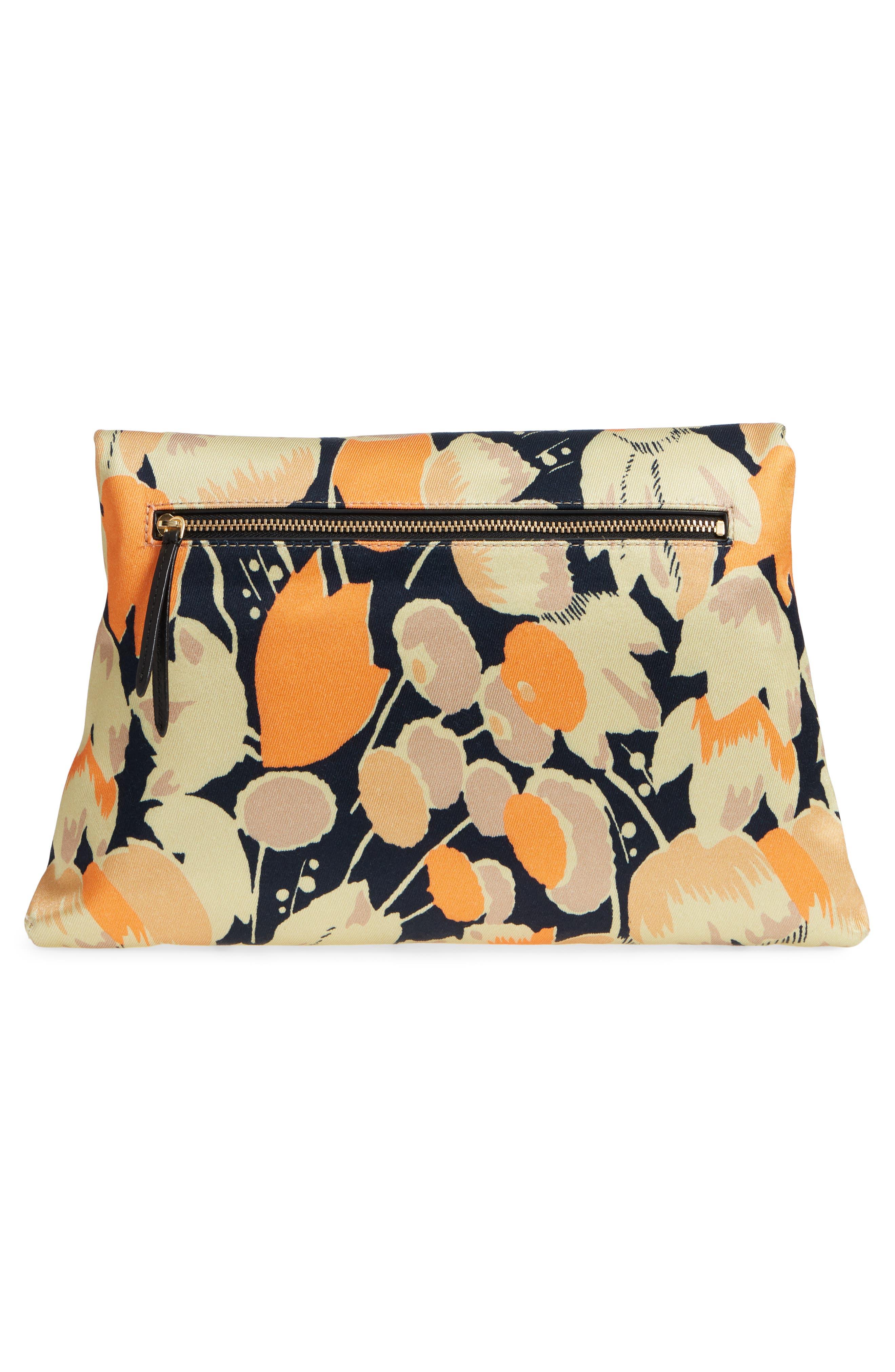Floral Print Envelope Clutch,                             Alternate thumbnail 3, color,                             Orange