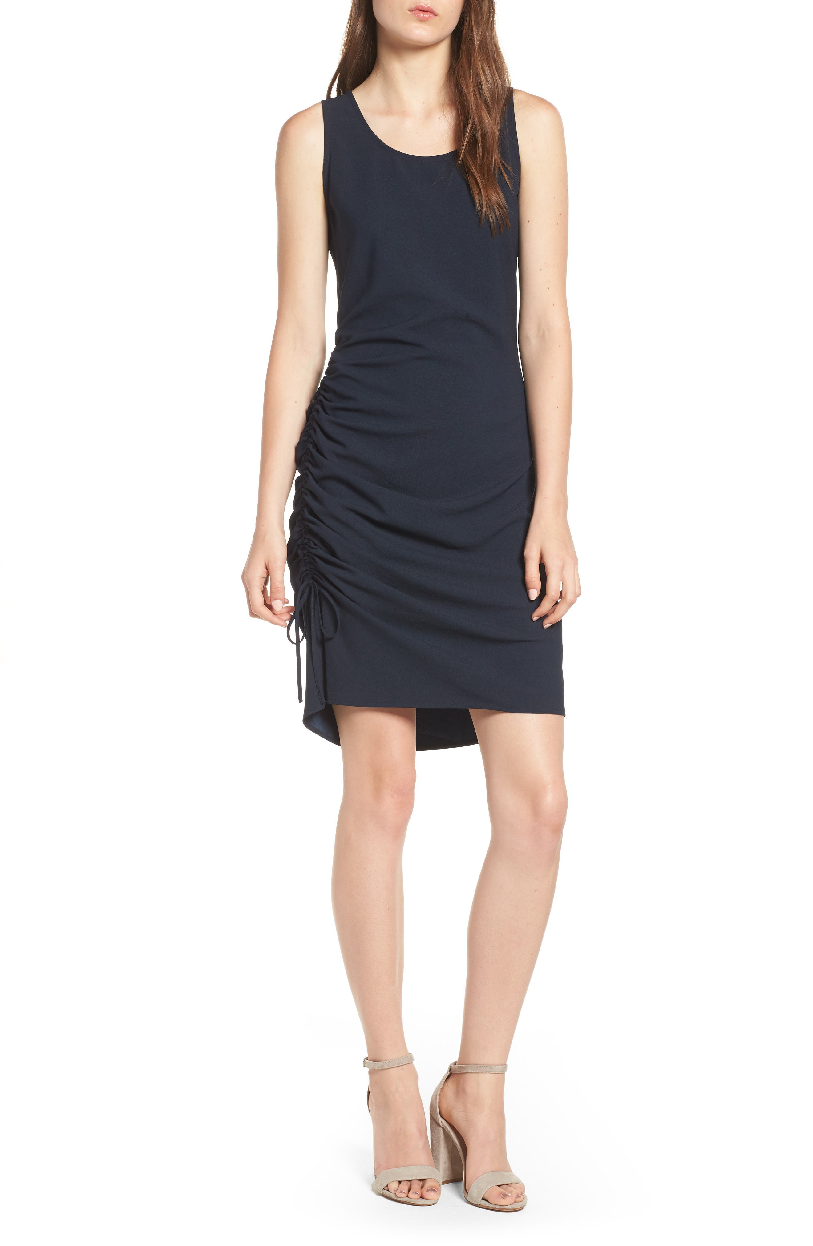 Side Shirred Tank Dress,                         Main,                         color, Navy Sapphire