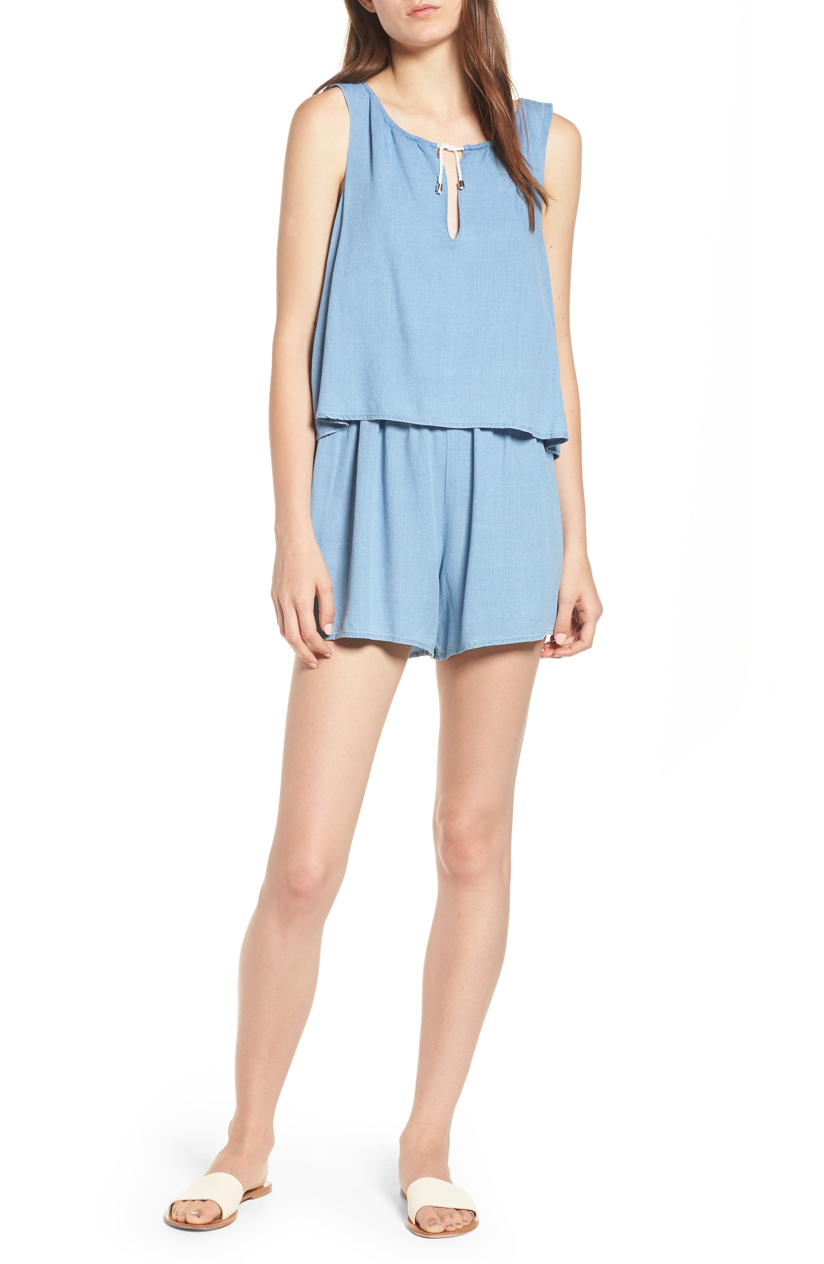 Chambray Romper,                         Main,                         color, Light Wash