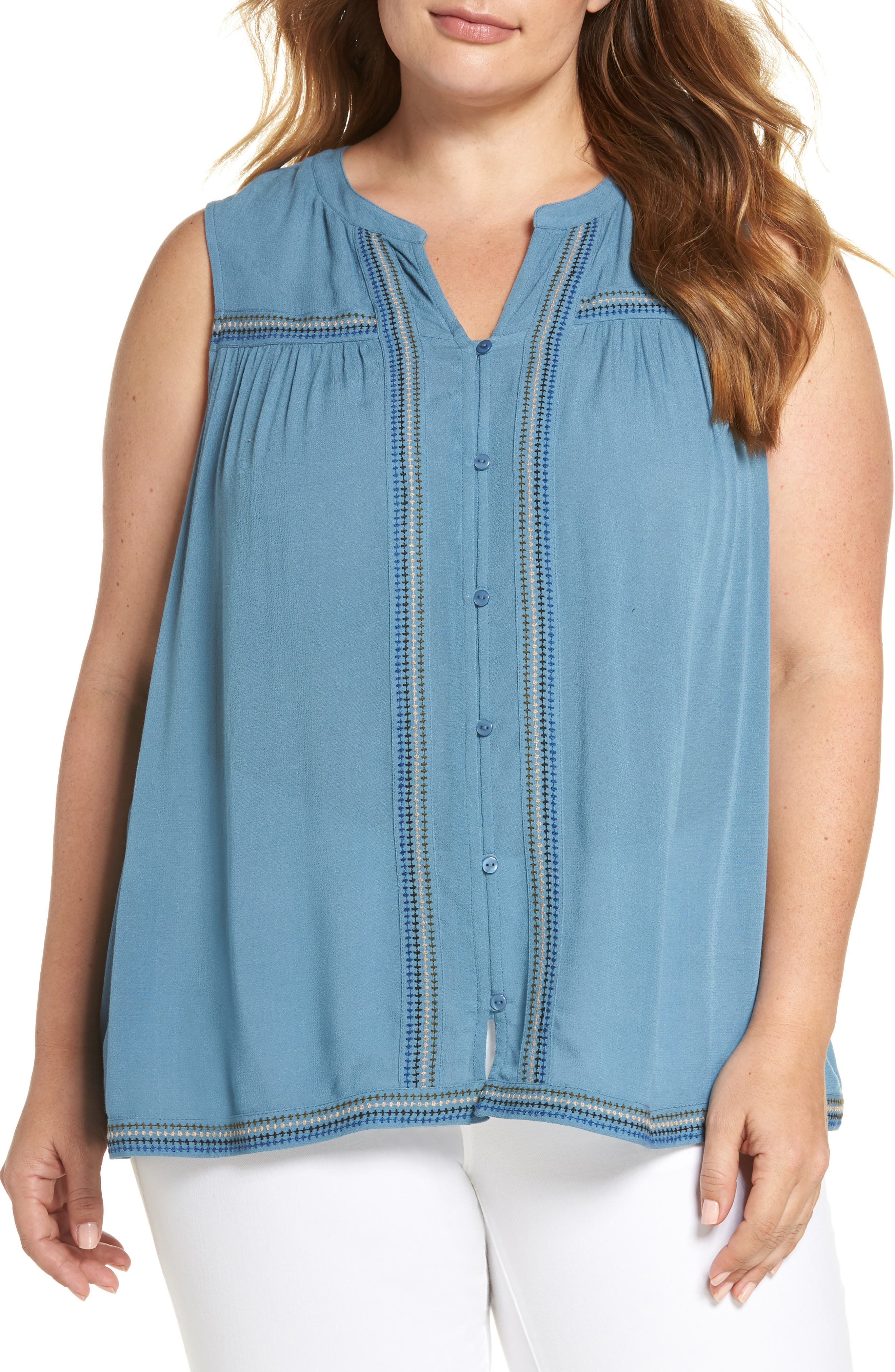 Lucky Brand Embroidered Tank (Plus Size)
