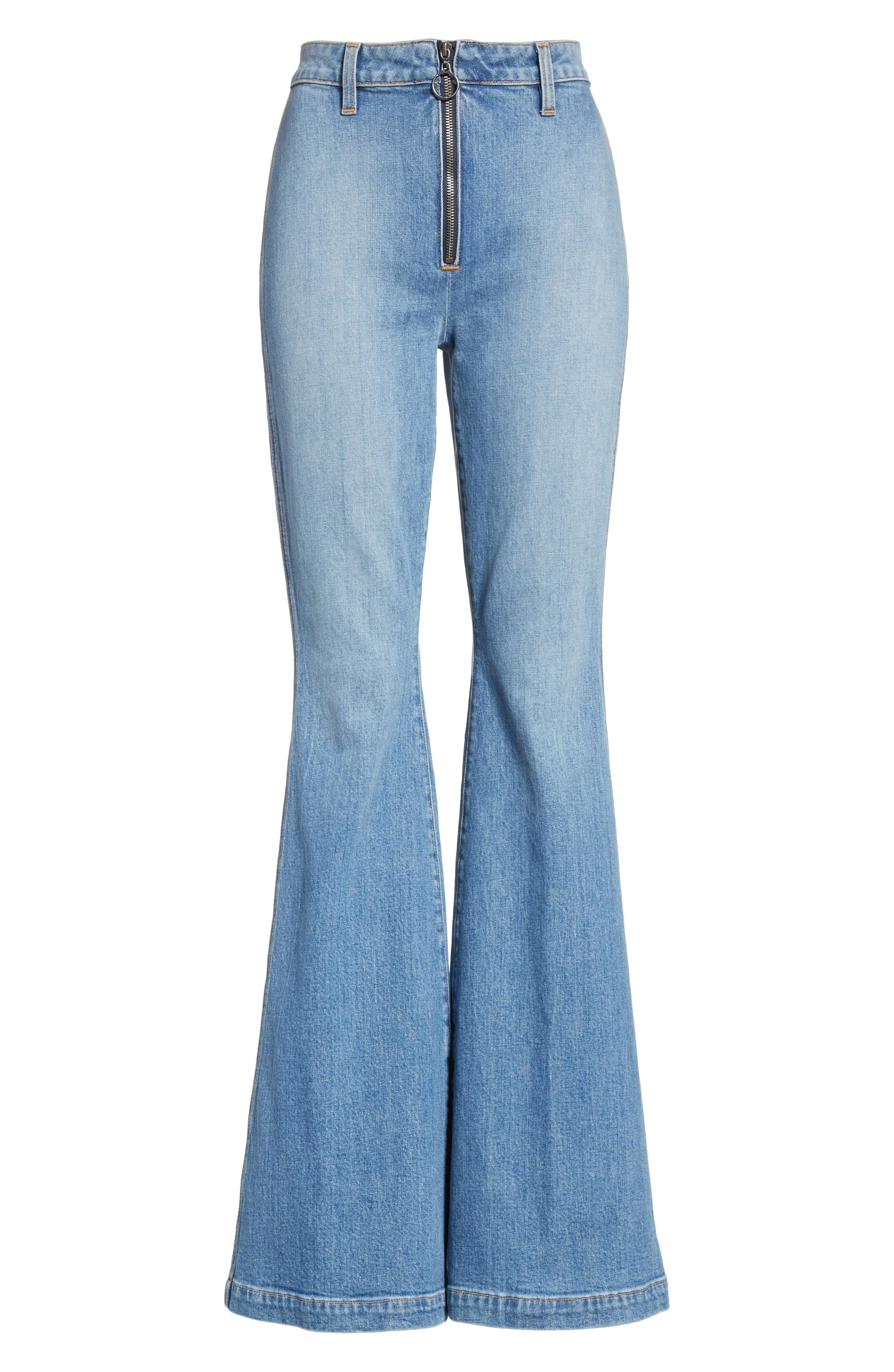 AO.LA Beautiful Exposed Zip Bell Bottom Jeans,                             Alternate thumbnail 6, color,                             Sweet Emotion