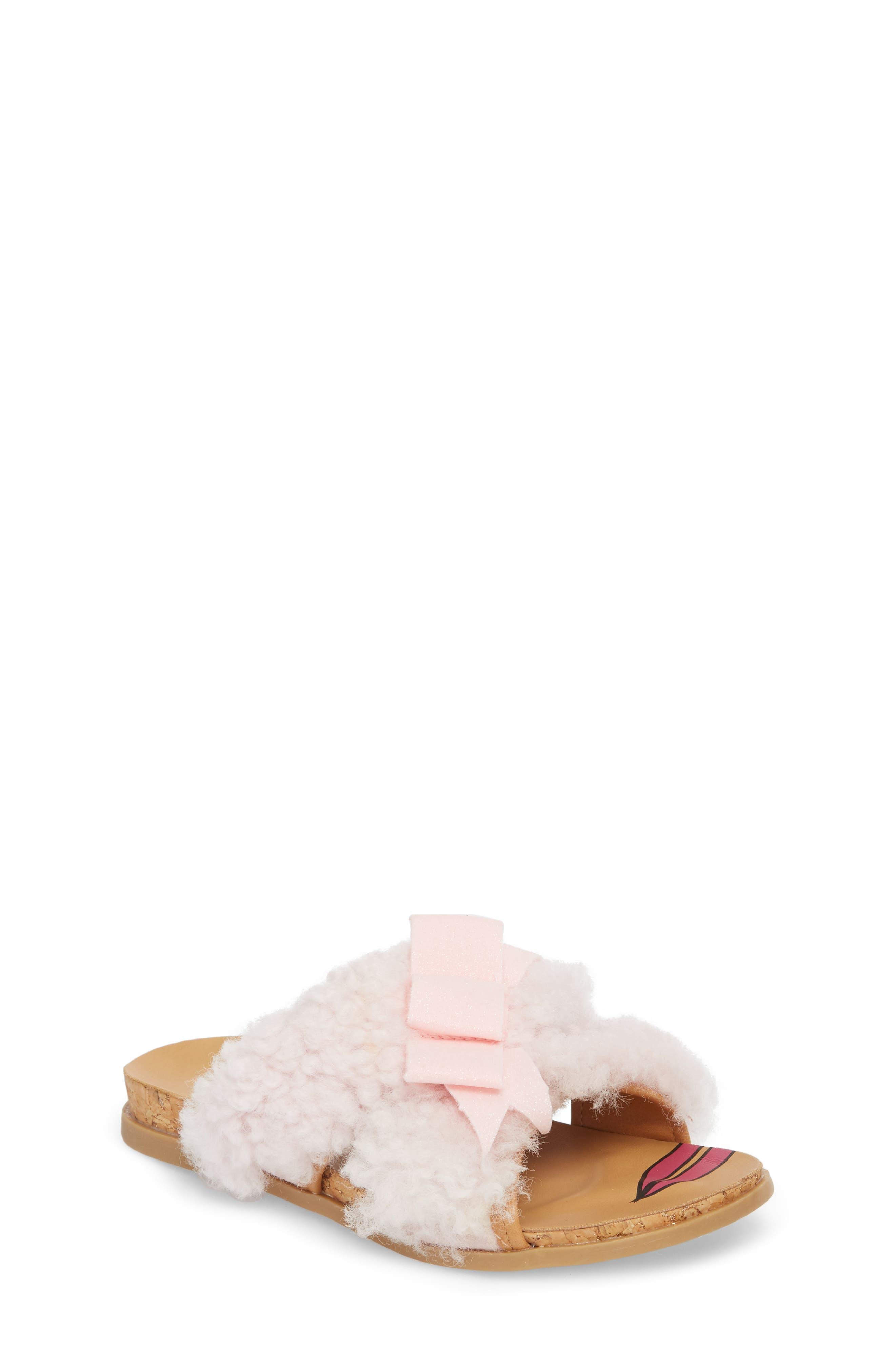 Staceee Genuine Shearling Slide Sandal,                         Main,                         color, Seashell Pink