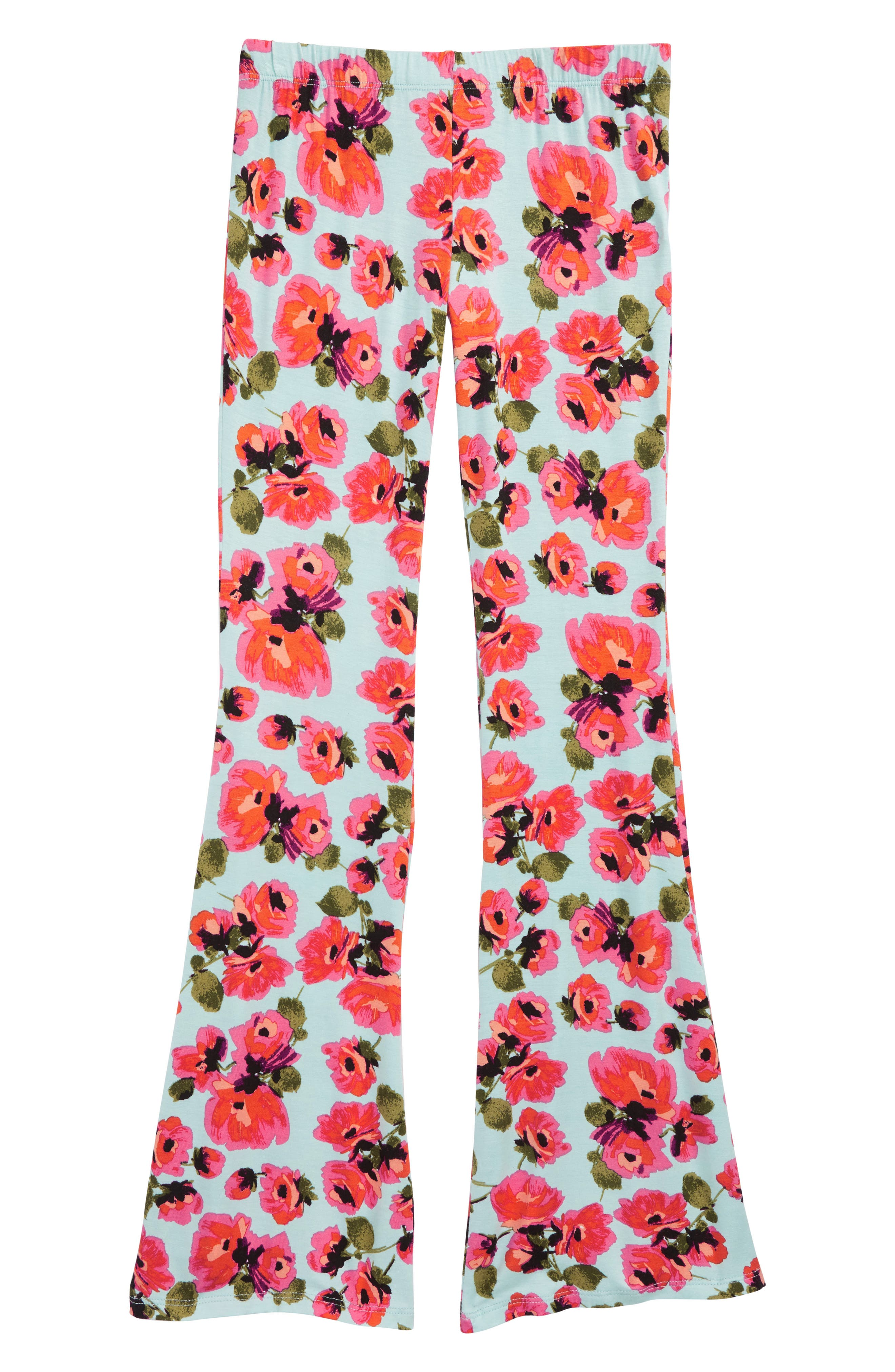 Tell Me Floral Flared Pants,                             Main thumbnail 1, color,                             Beach Glass