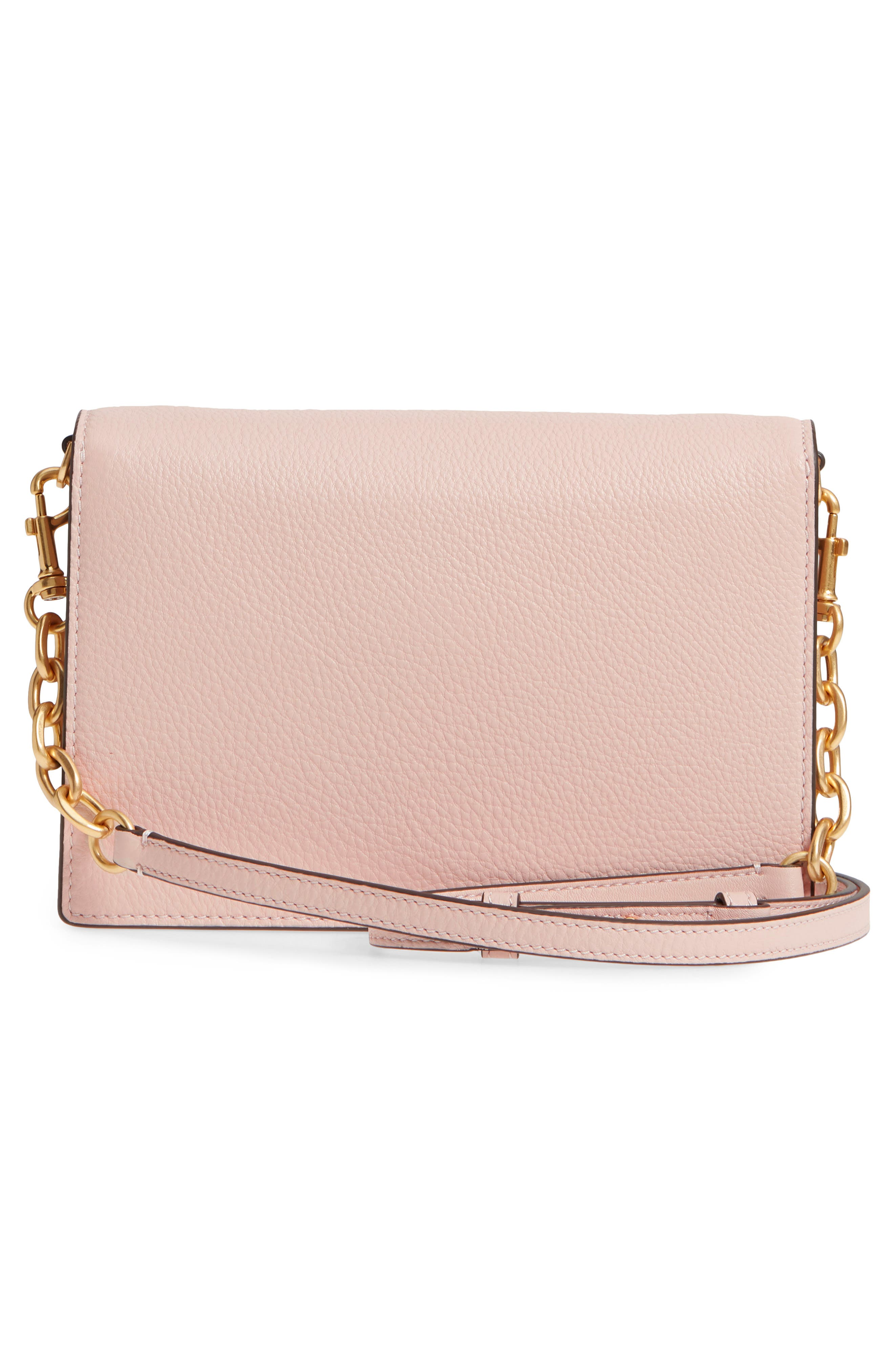 Georgia Pebble Leather Shoulder Bag,                             Alternate thumbnail 5, color,                             Shell Pink