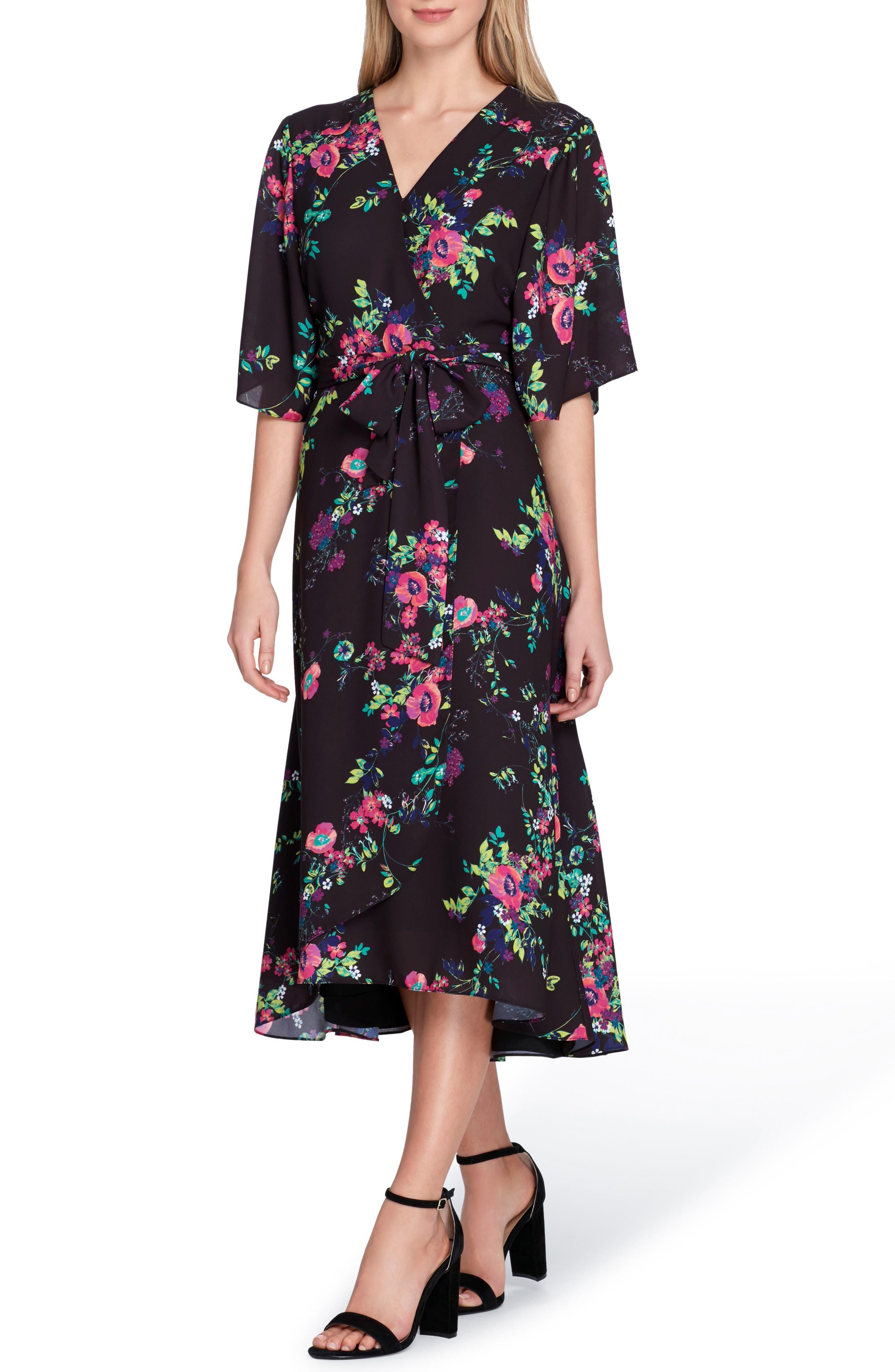 Floral Faux Wrap Midi Dress,                             Main thumbnail 1, color,                             Black/ Fuchsia/ Green