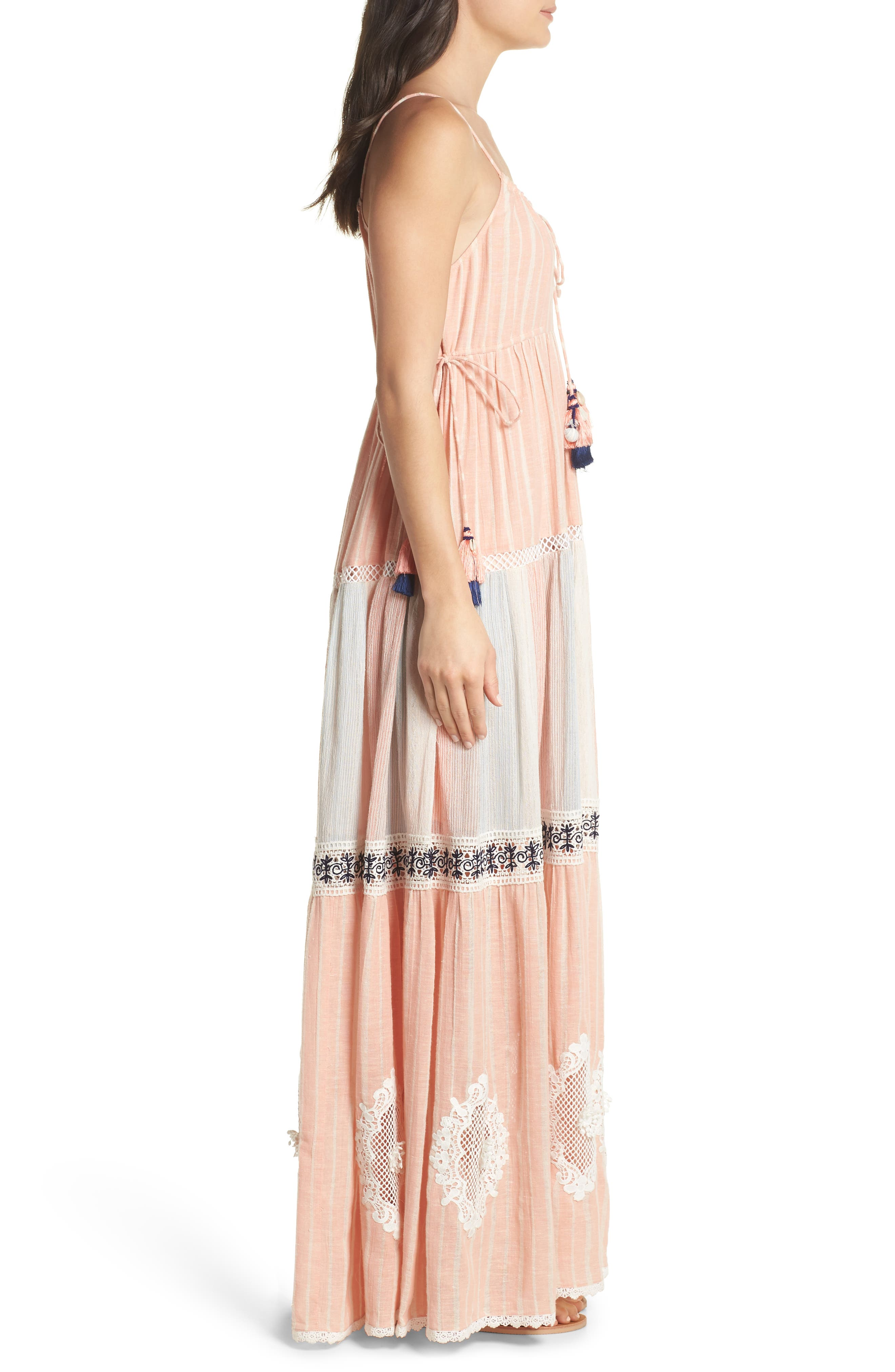 Hemant & Nandita Cover-Up Maxi Dress,                             Alternate thumbnail 3, color,                             Peach