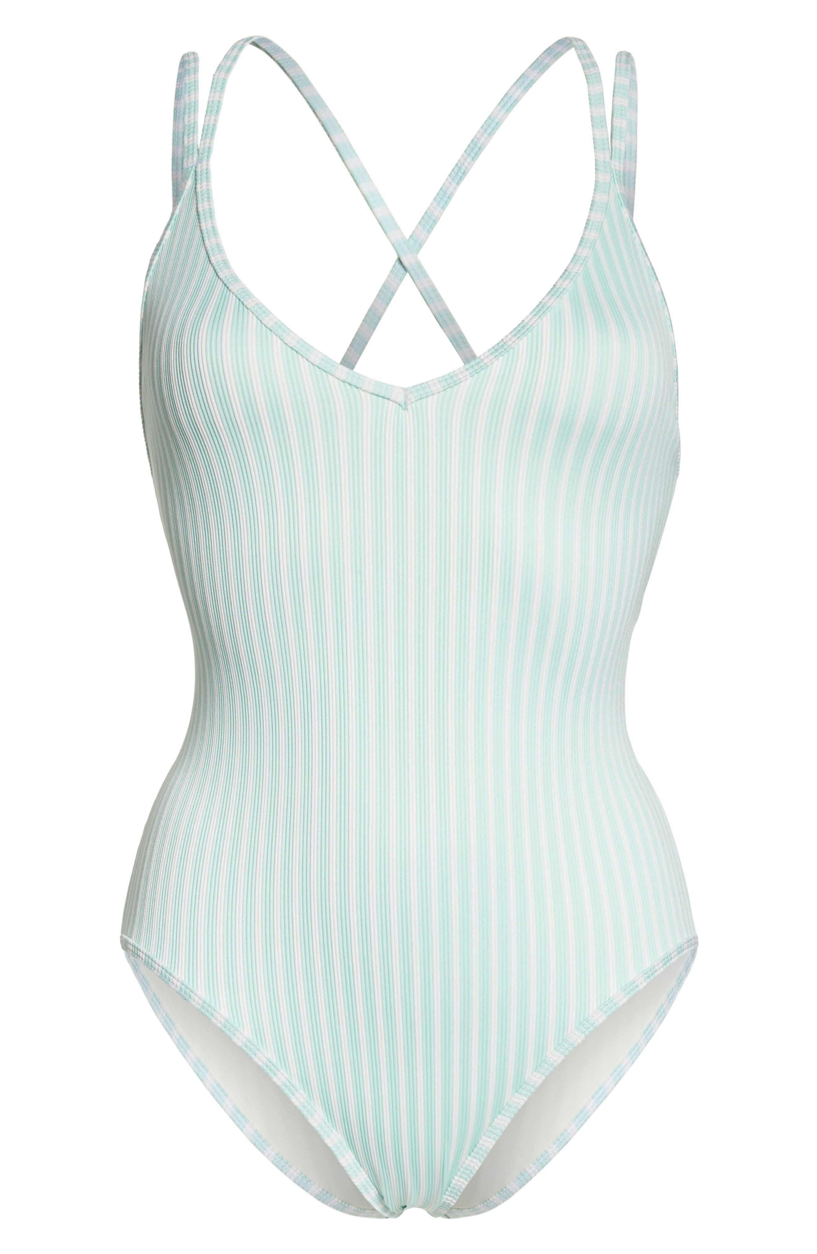 Dakota One-Piece Swimsuit,                             Alternate thumbnail 6, color,                             Spearmint