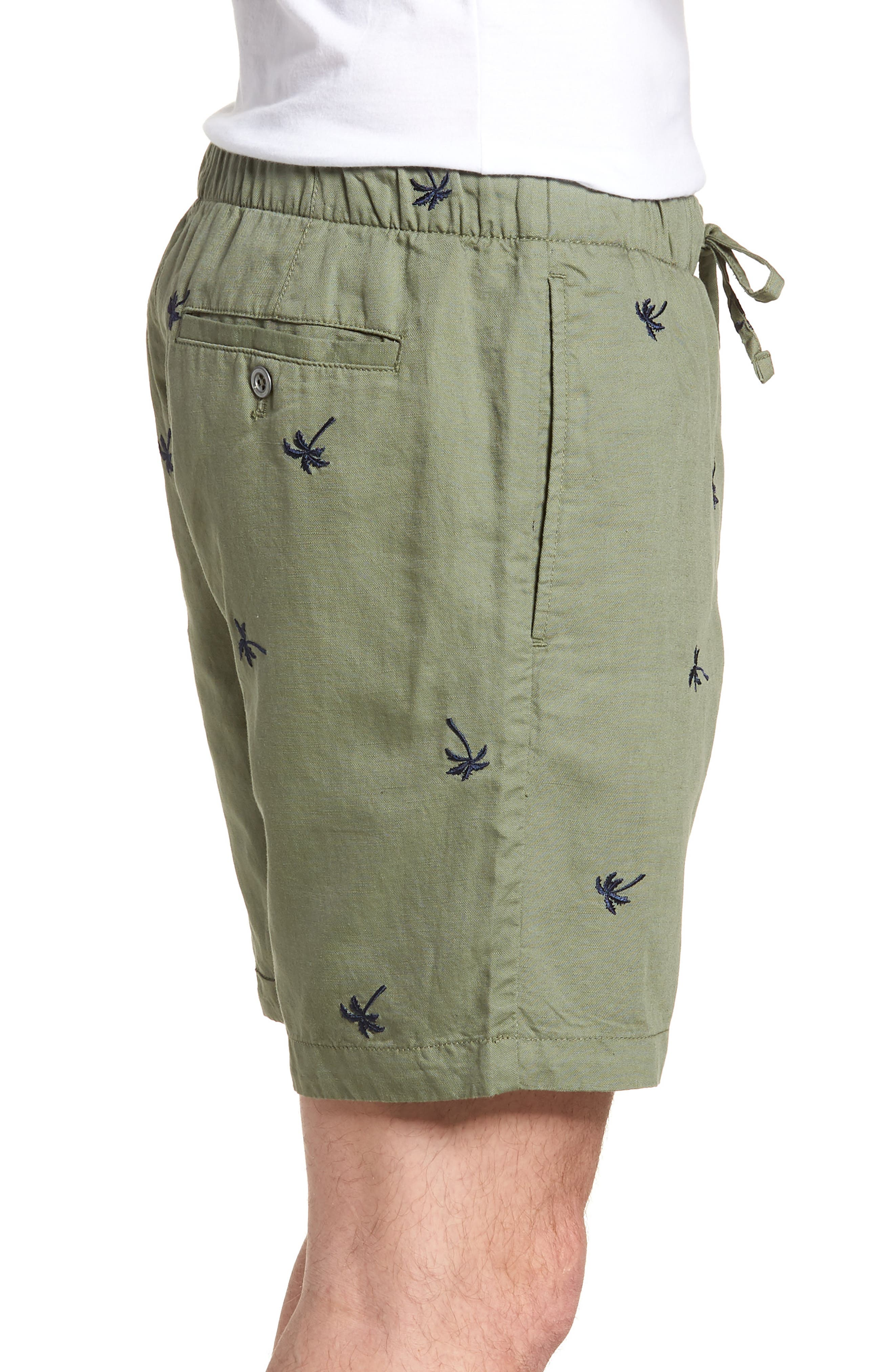 Print Beach Shorts,                             Alternate thumbnail 3, color,                             Twin Palms Olive