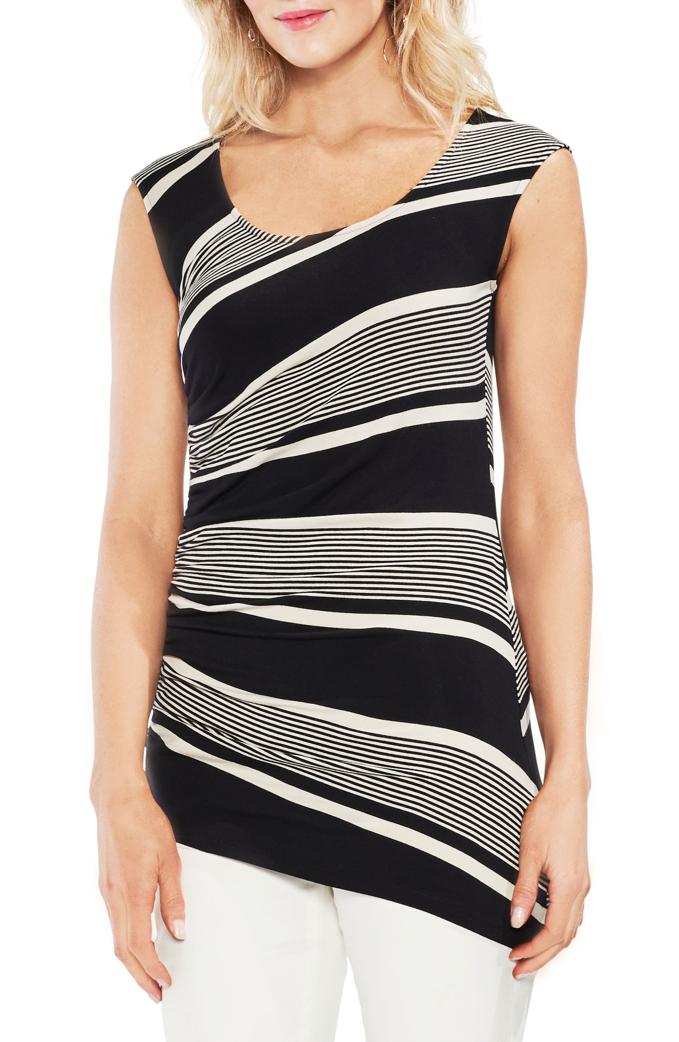 Ruched Stripe Tank Top,                         Main,                         color, Rich Black