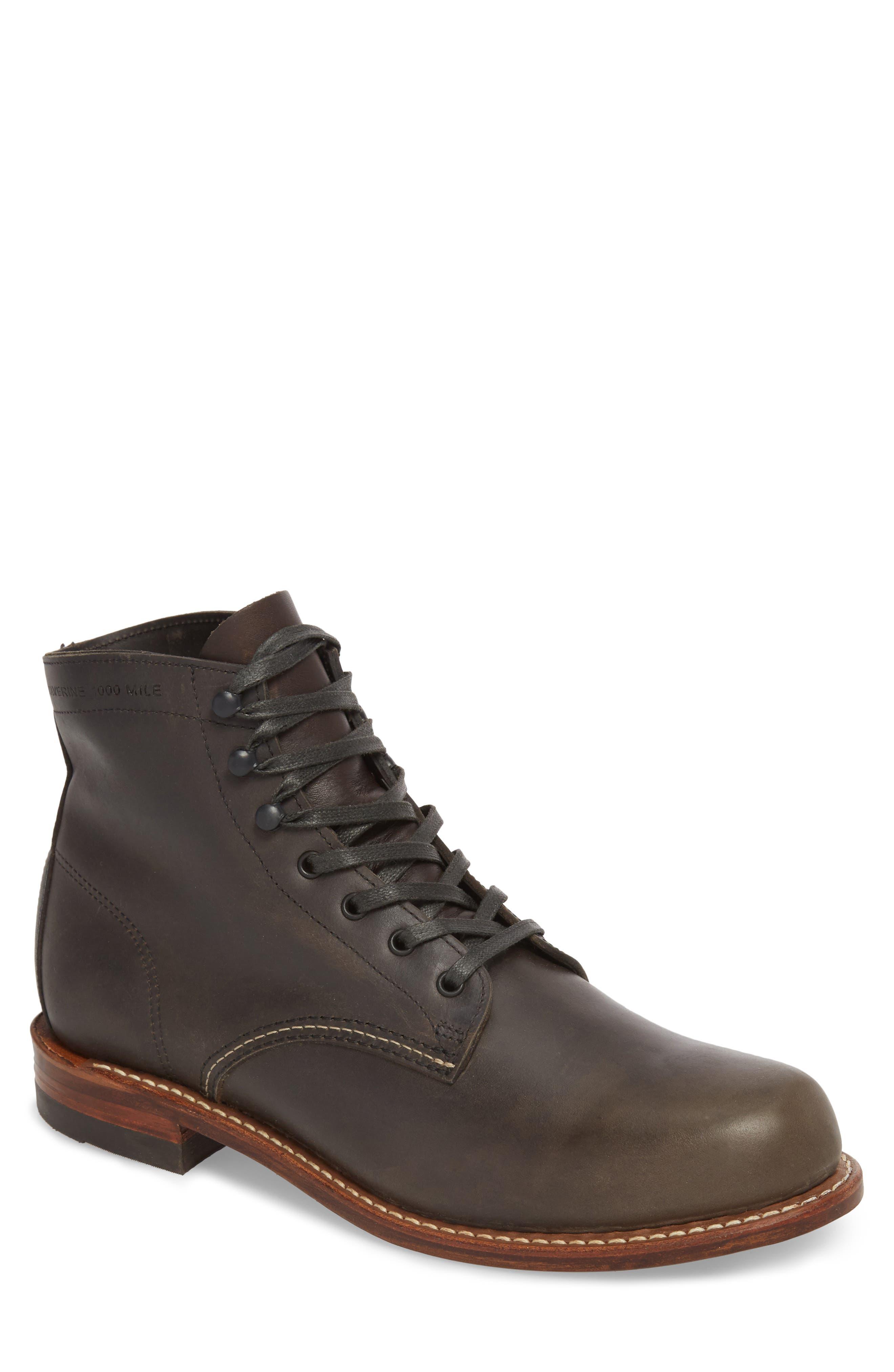 '1000 Mile' Plain Toe Boot,                         Main,                         color, Charcoal