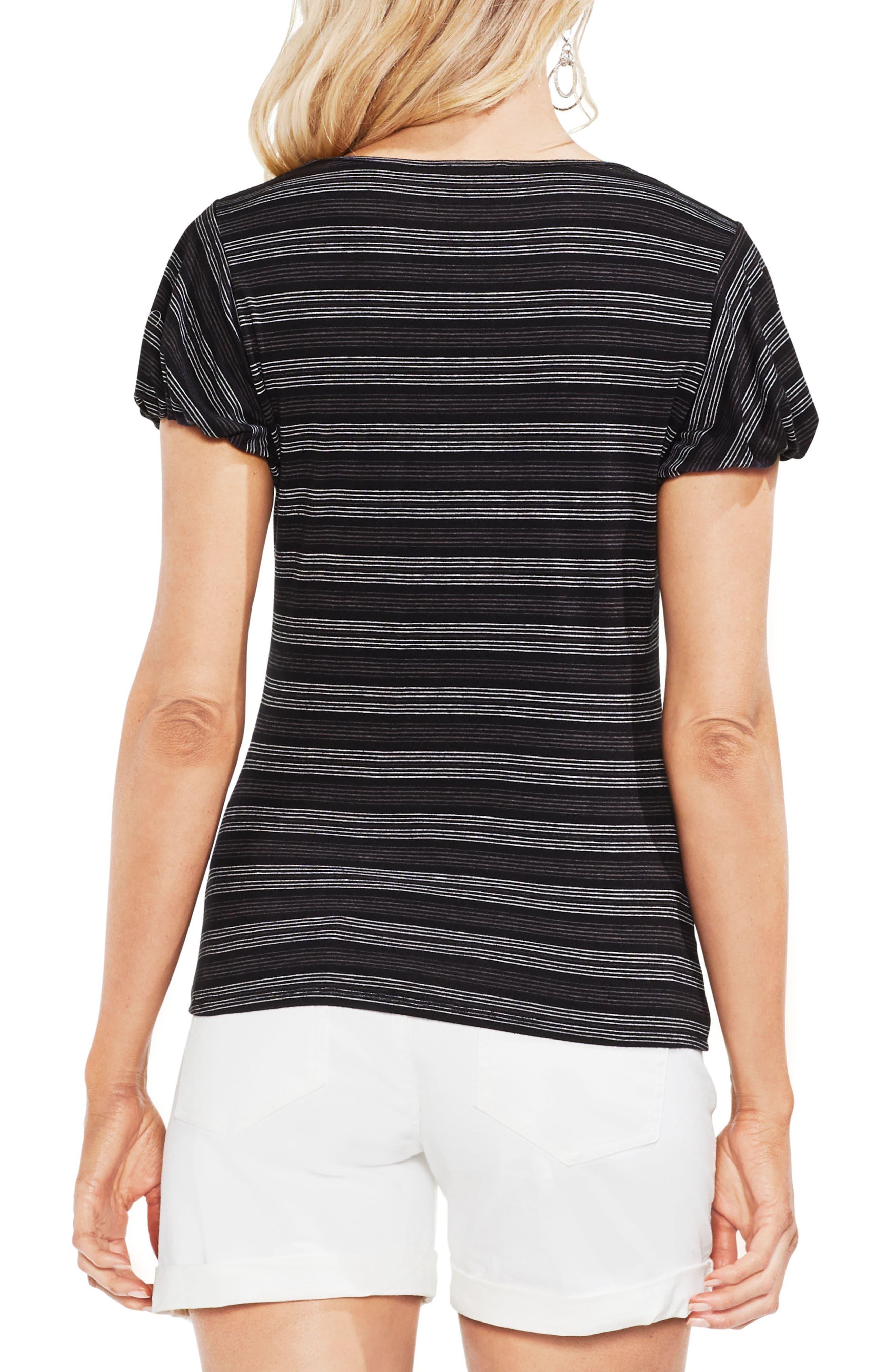 Striped Short Sleeve Top,                             Alternate thumbnail 2, color,                             Rich Black