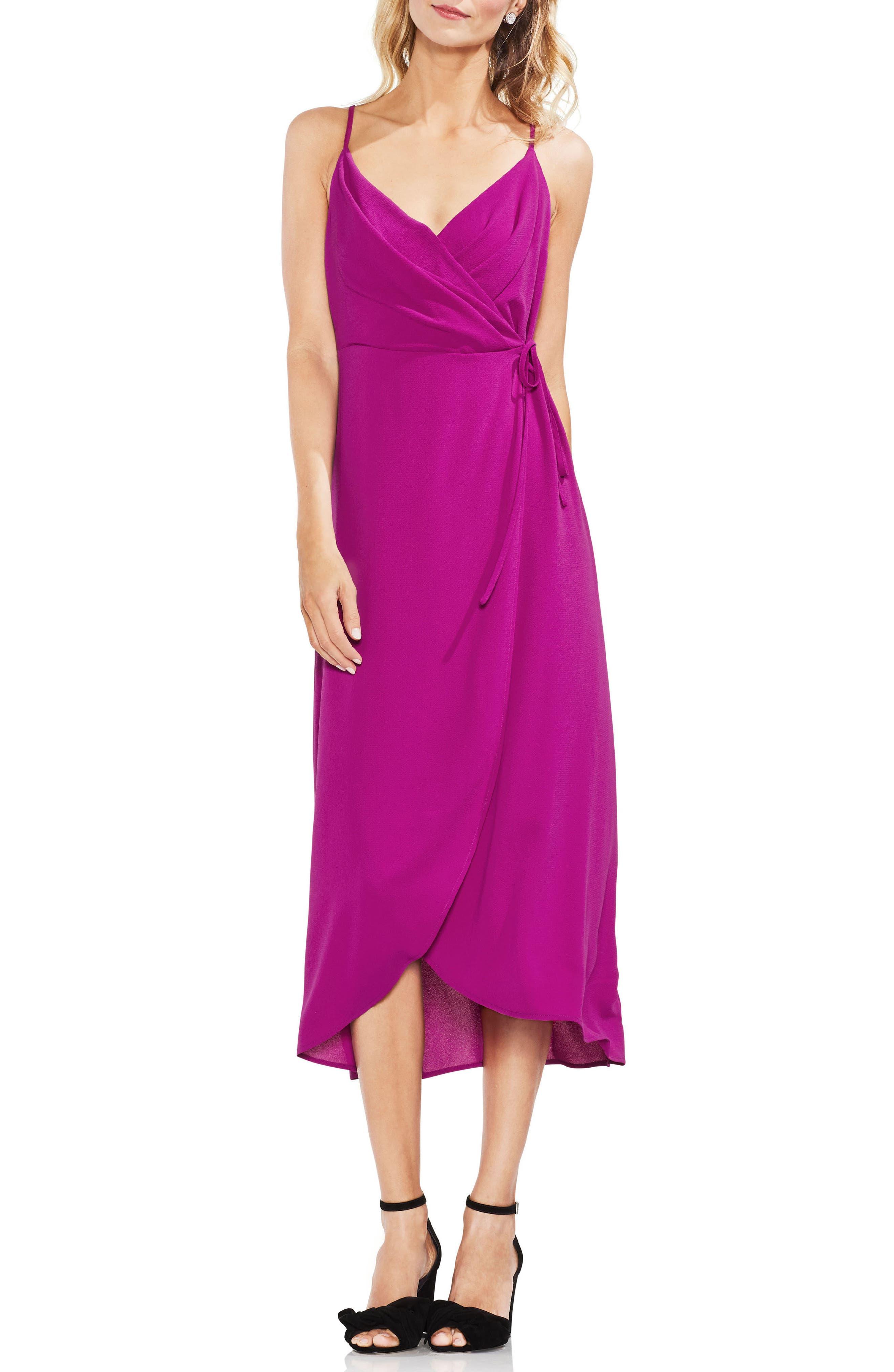 Soft Texture Faux Wrap Midi Dress,                             Main thumbnail 1, color,                             Fuchsia Fury