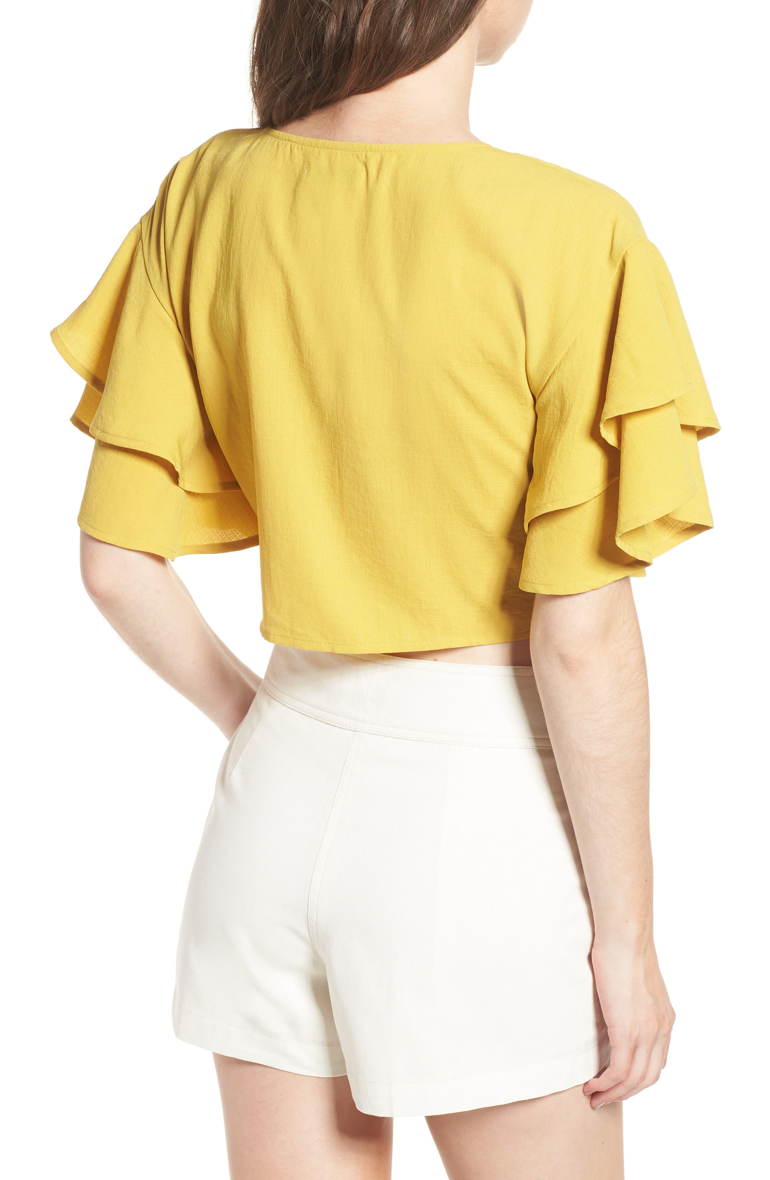 Ruffle Sleeve Crop Top,                             Alternate thumbnail 2, color,                             Marigold