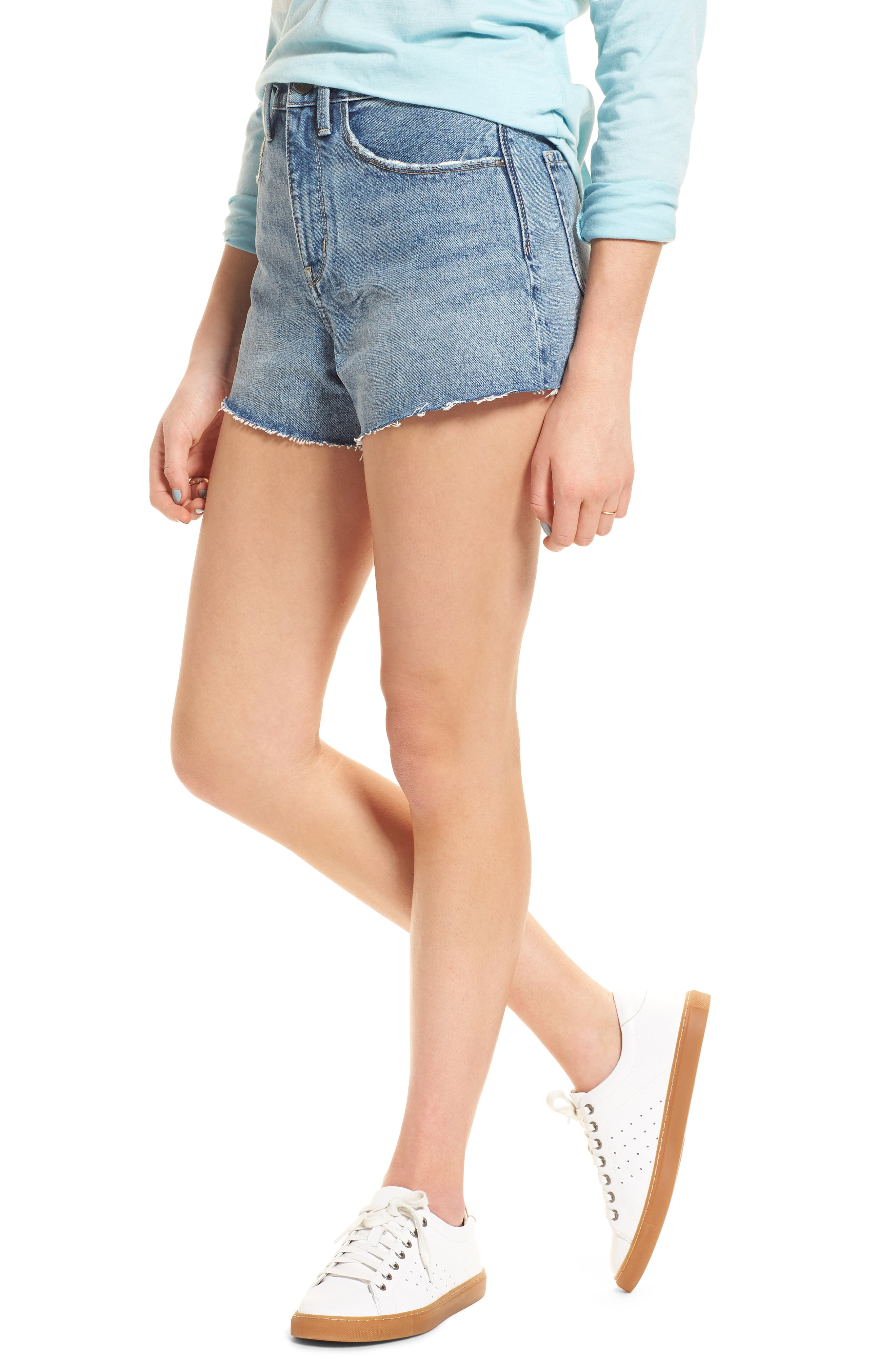 High Waist Cutoff Denim Shorts,                         Main,                         color, Medium Vintage Wash