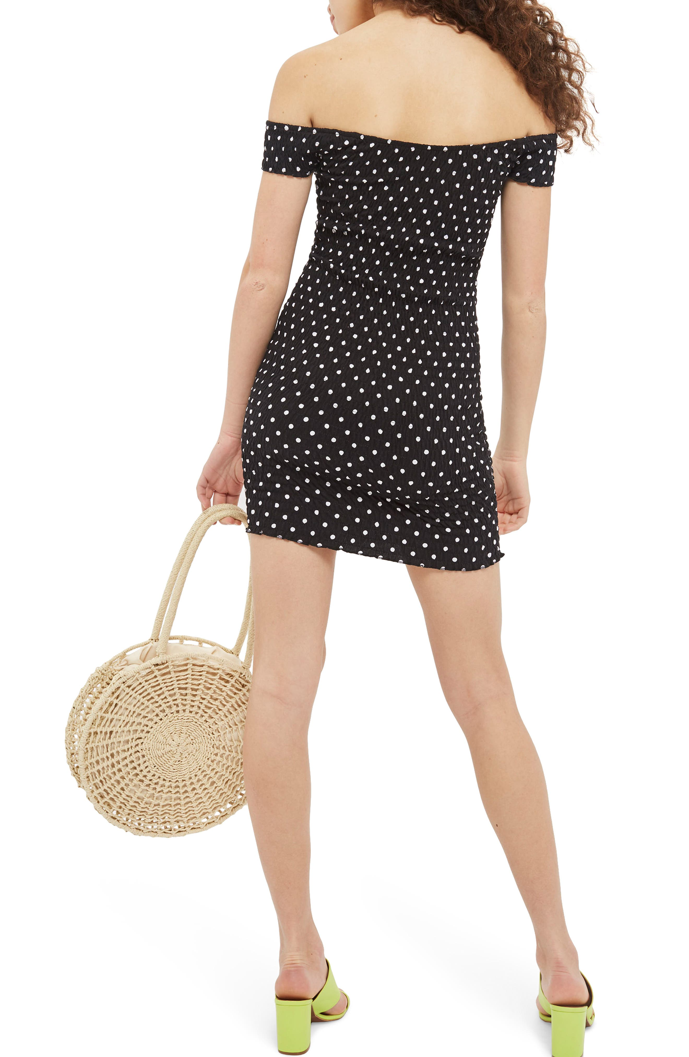 Spot Shirred Body-Con Dress,                             Alternate thumbnail 2, color,                             Black Multi