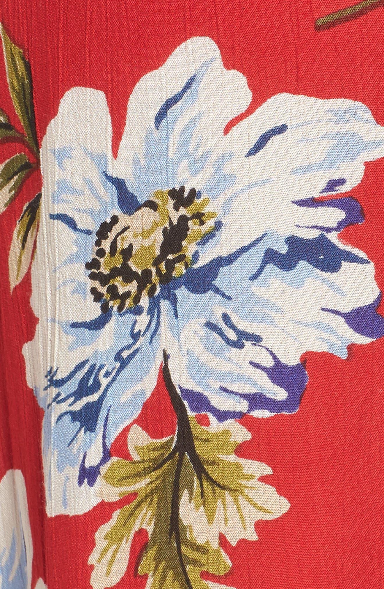 Blue Moon Floral Print Wrap Dress,                             Alternate thumbnail 6, color,                             Red/ Sky