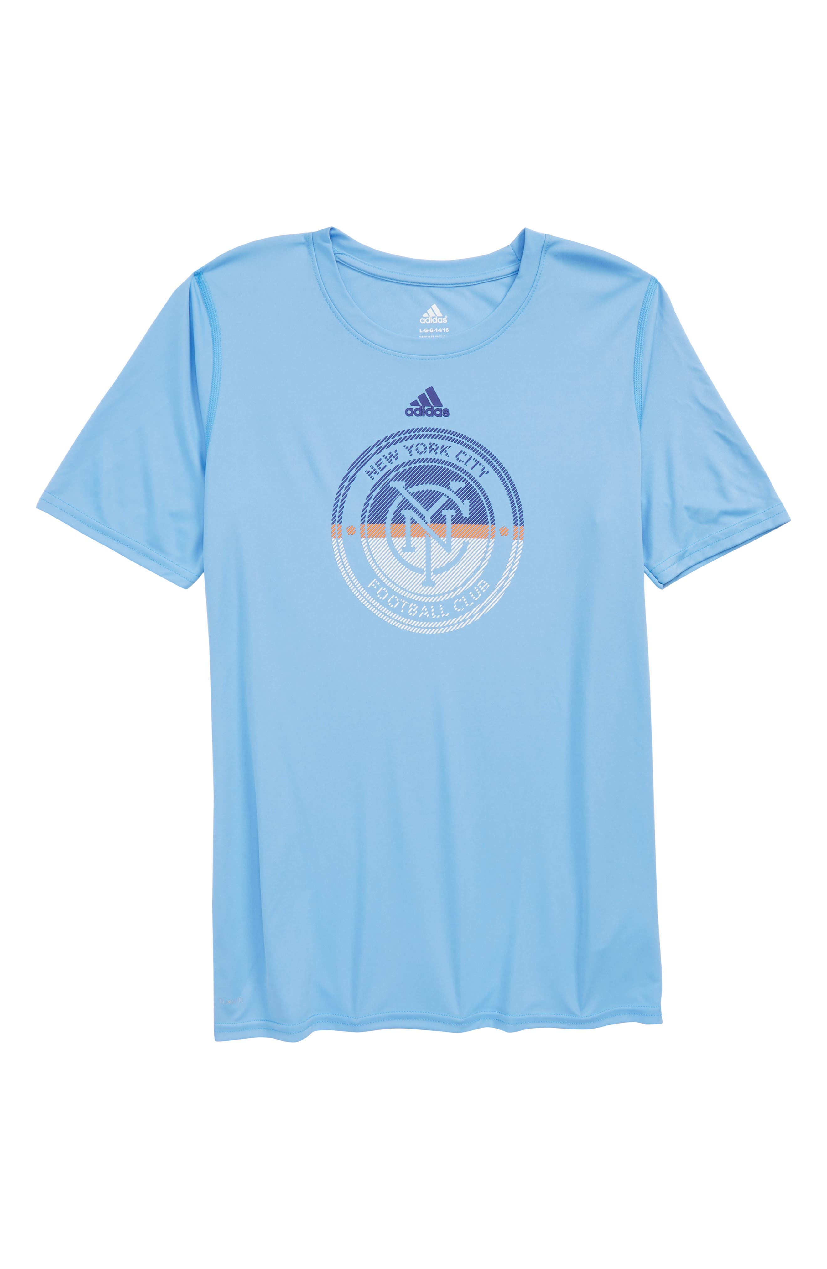 MLS New York City FC Climalite<sup>®</sup> T-Shirt,                         Main,                         color, Bahia Blue
