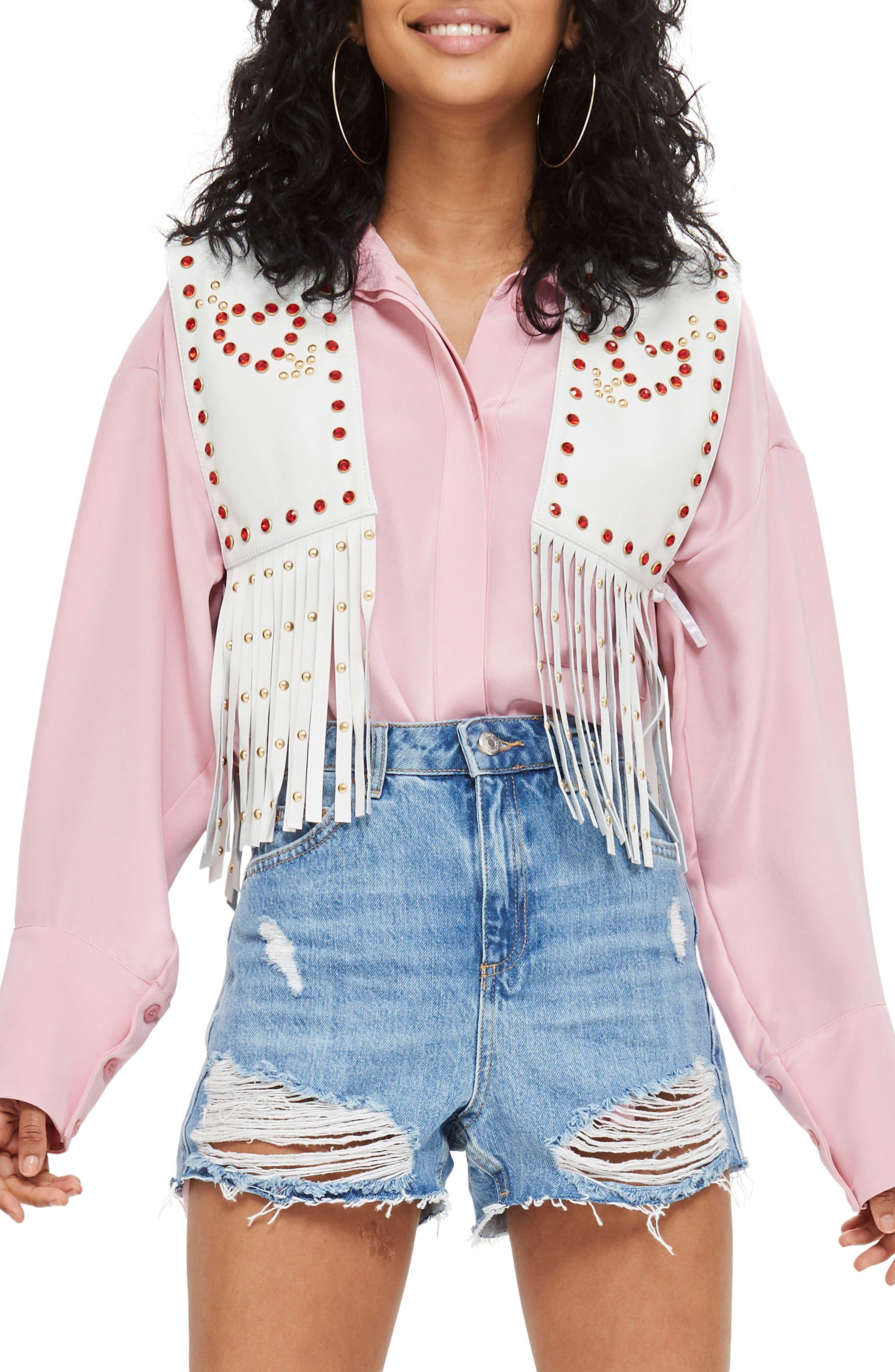 Sacred Heart Festival Leather Waistcoat,                         Main,                         color, White Multi