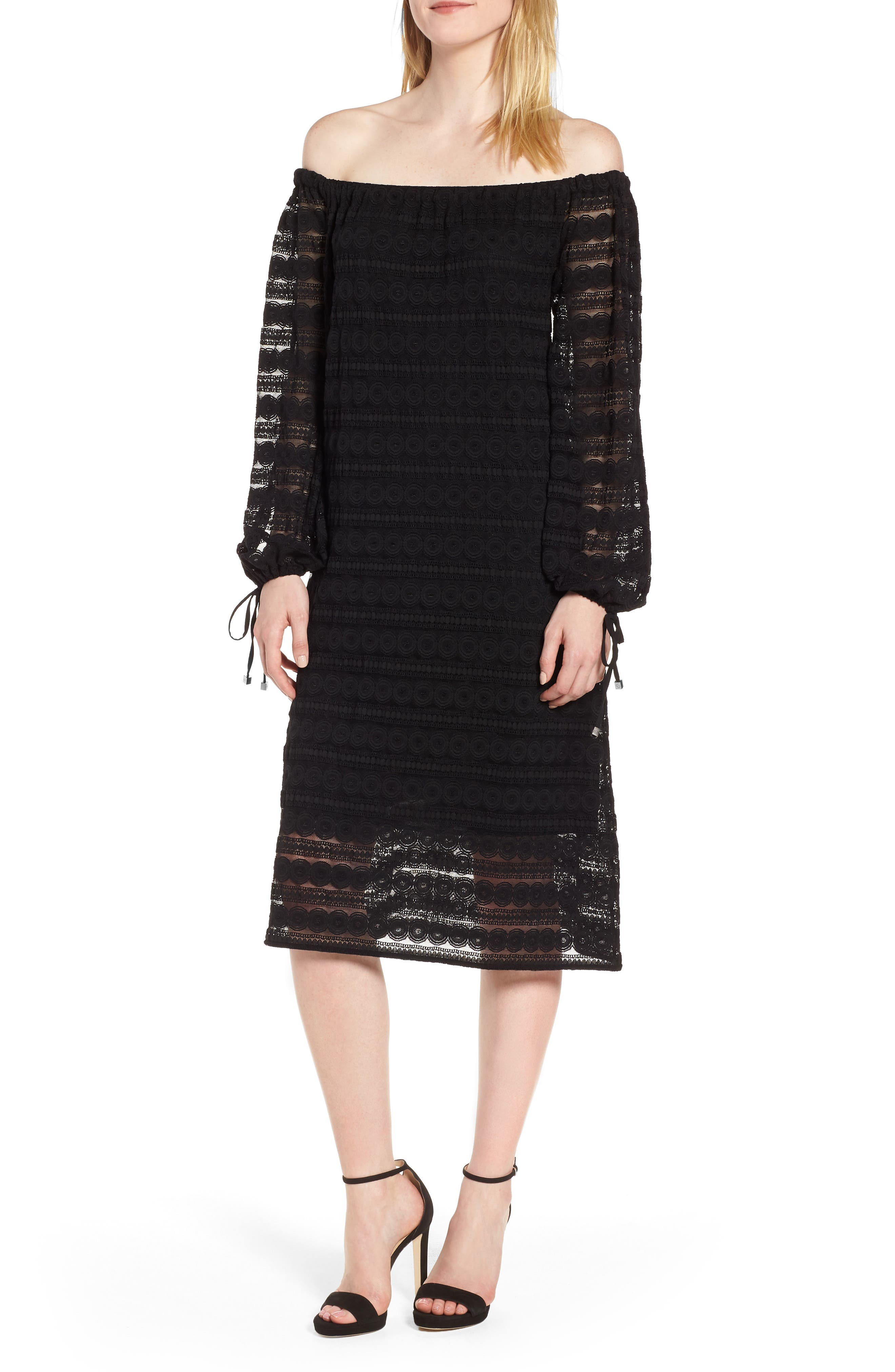 Circle Medallion Lace Off the Shoulder Dress,                         Main,                         color, Black