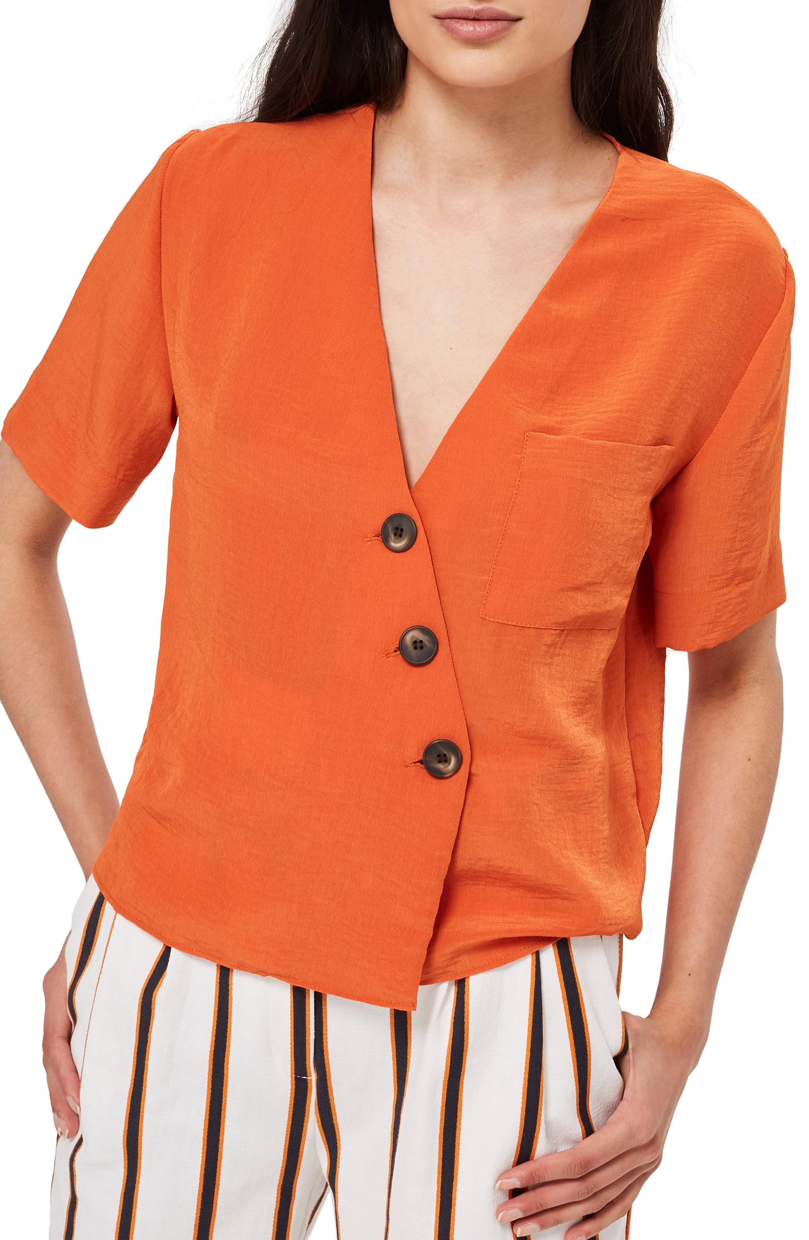 Ashley Asymmetrical Blouse,                         Main,                         color, Dark Orange