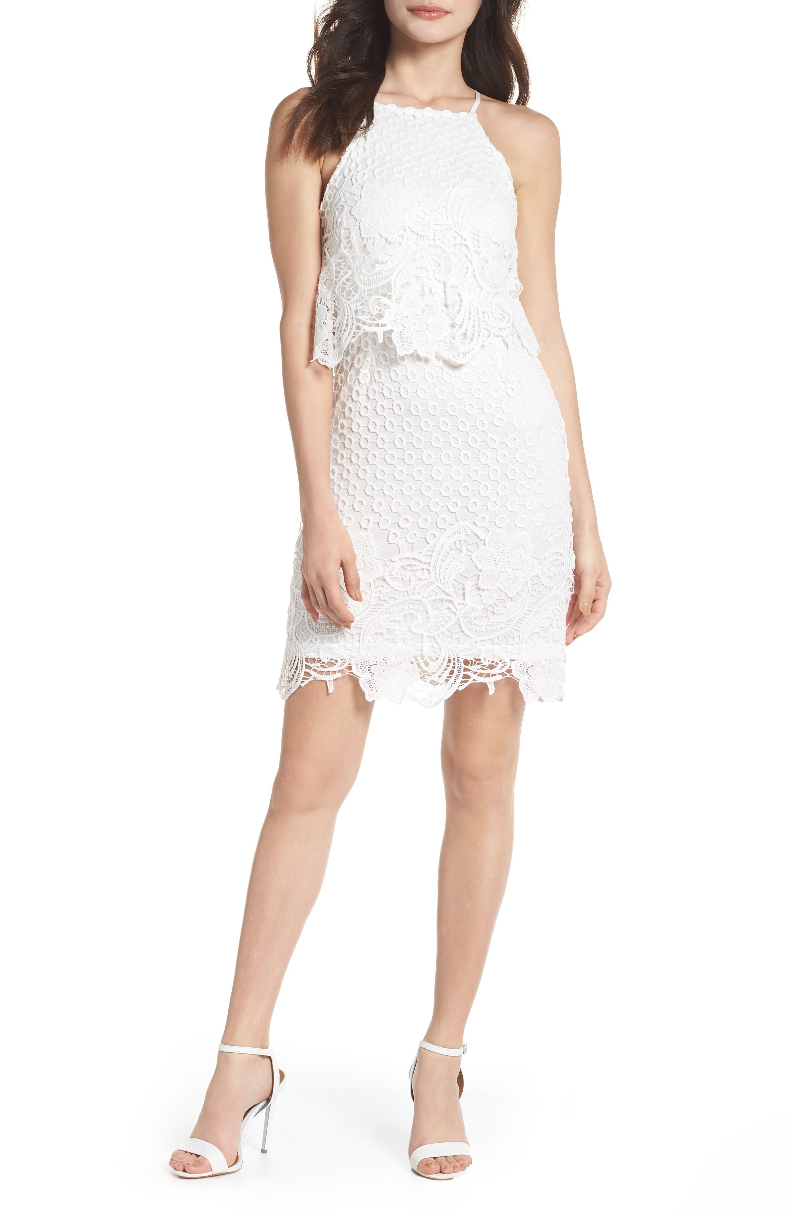 Bryn Lace Halter Dress,                             Main thumbnail 1, color,                             White