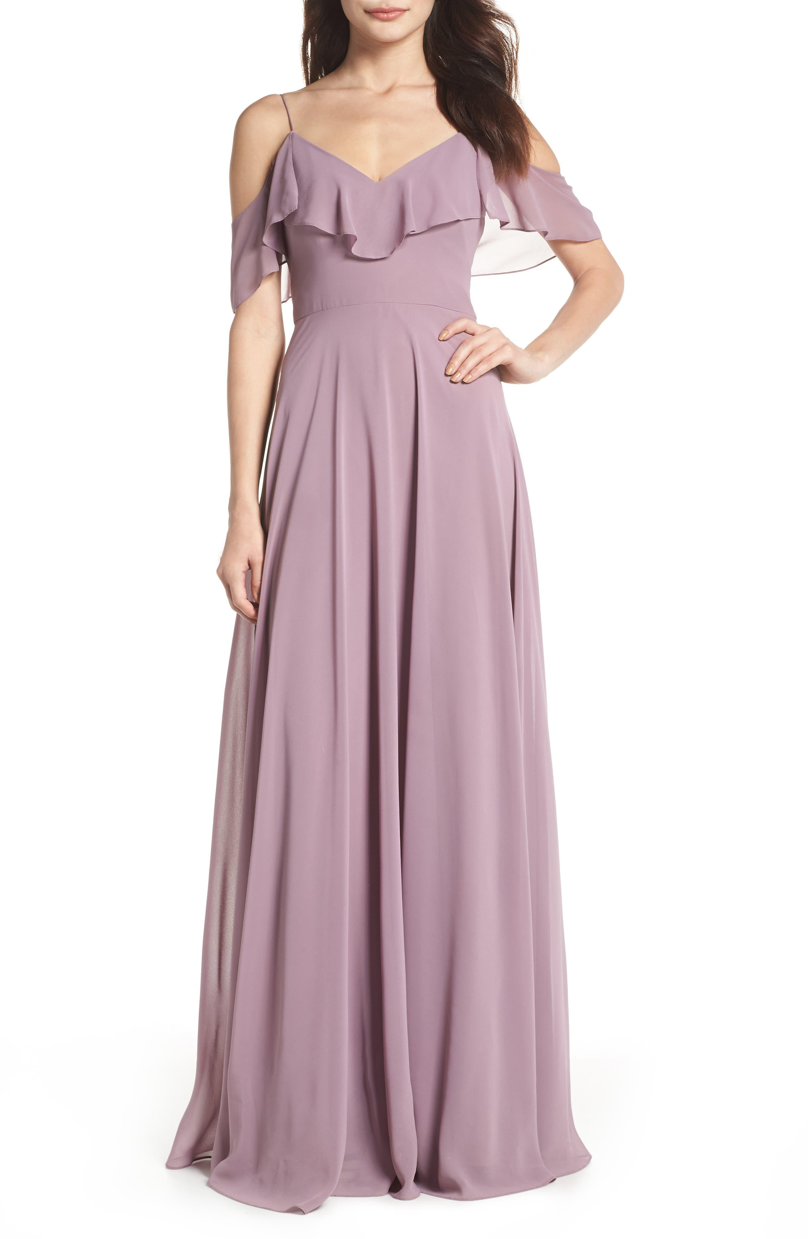 Jenny Yoo Cold Shoulder Chiffon Gown