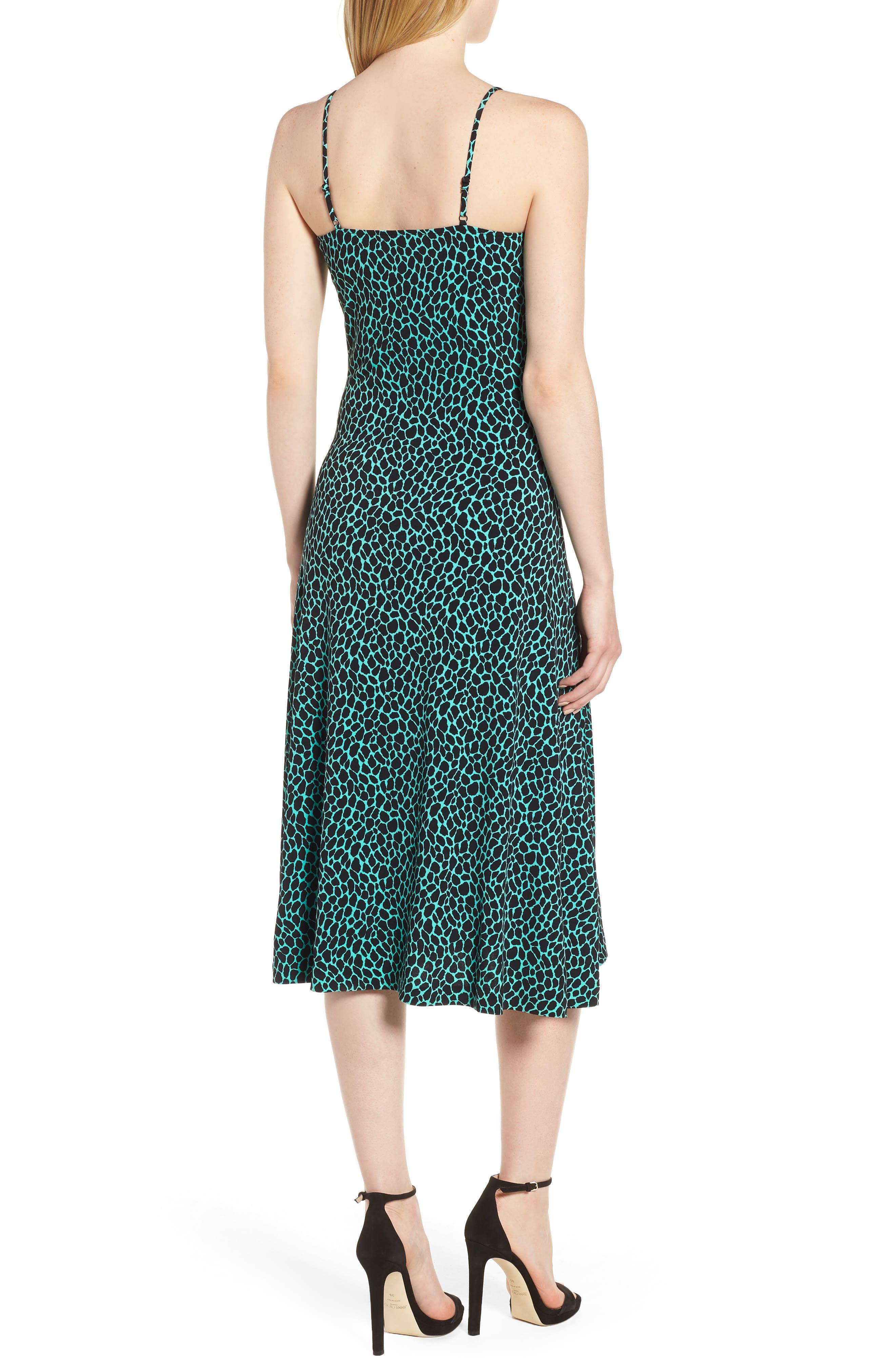 Graphic Leopard Tank Midi Dress,                             Alternate thumbnail 2, color,                             Aqua/ Black