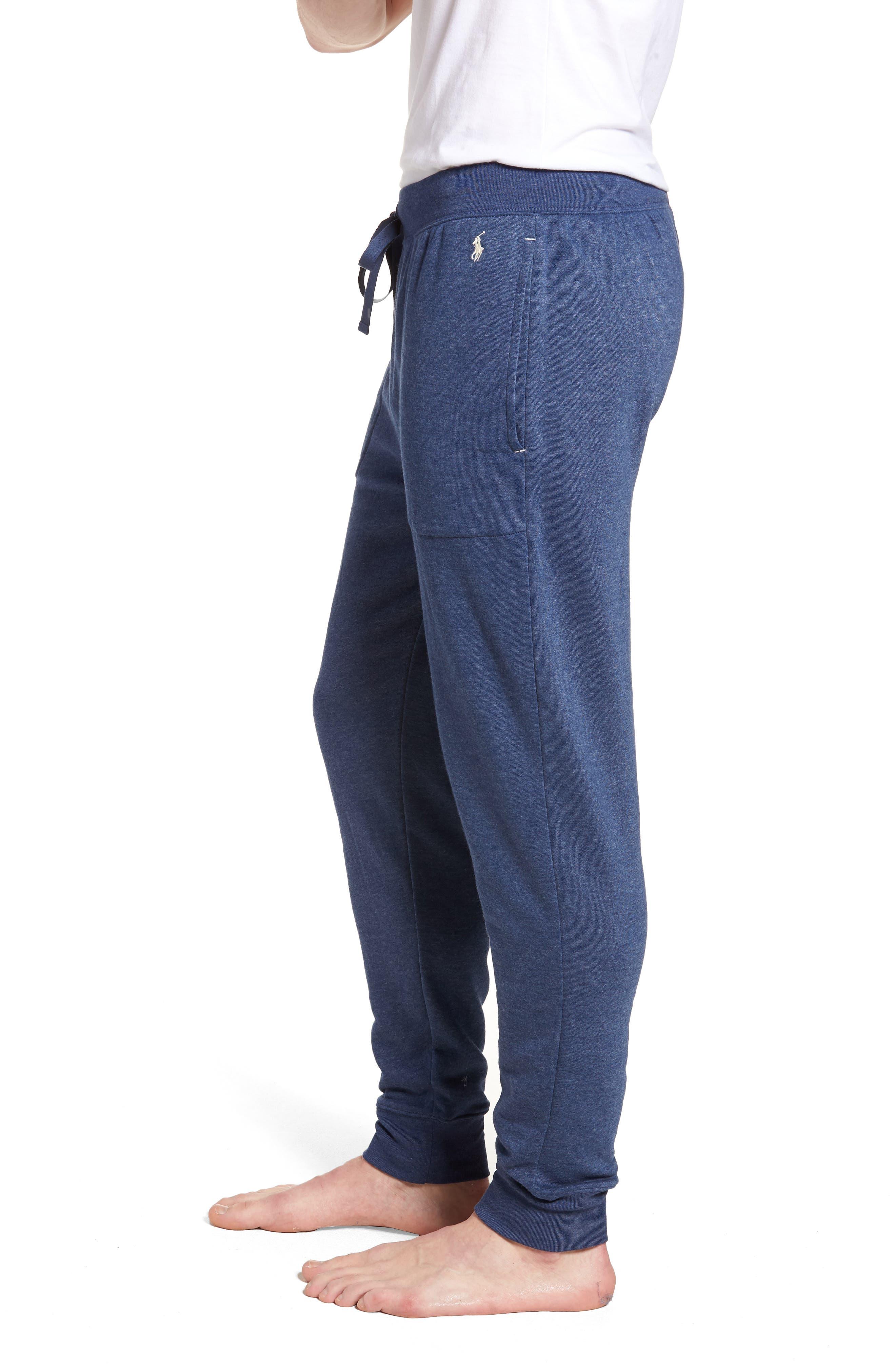 Brushed Jersey Cotton Blend Jogger Pants,                             Alternate thumbnail 3, color,                             Blue