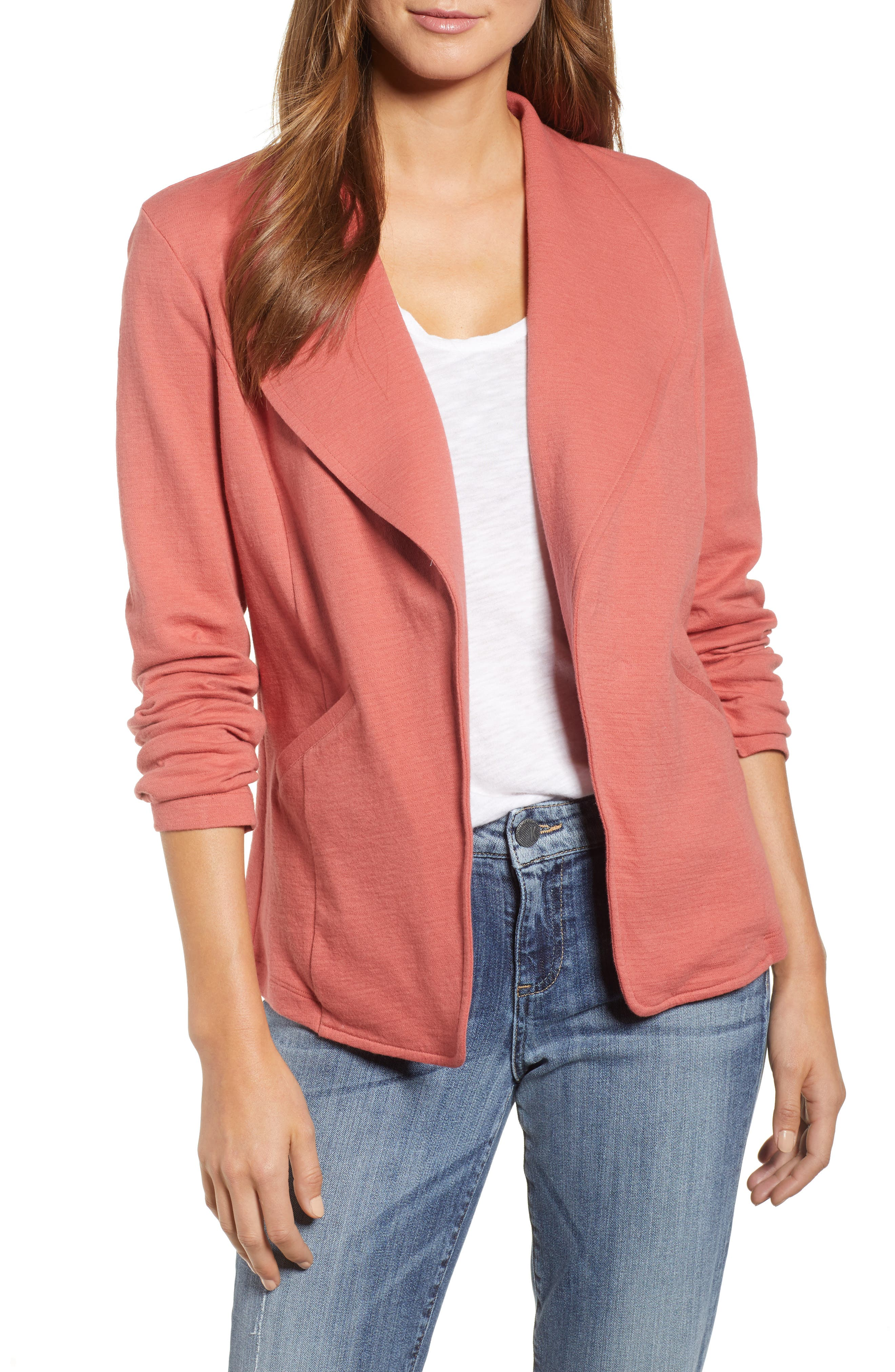 Knit Blazer, Main, color, Pink Cedar