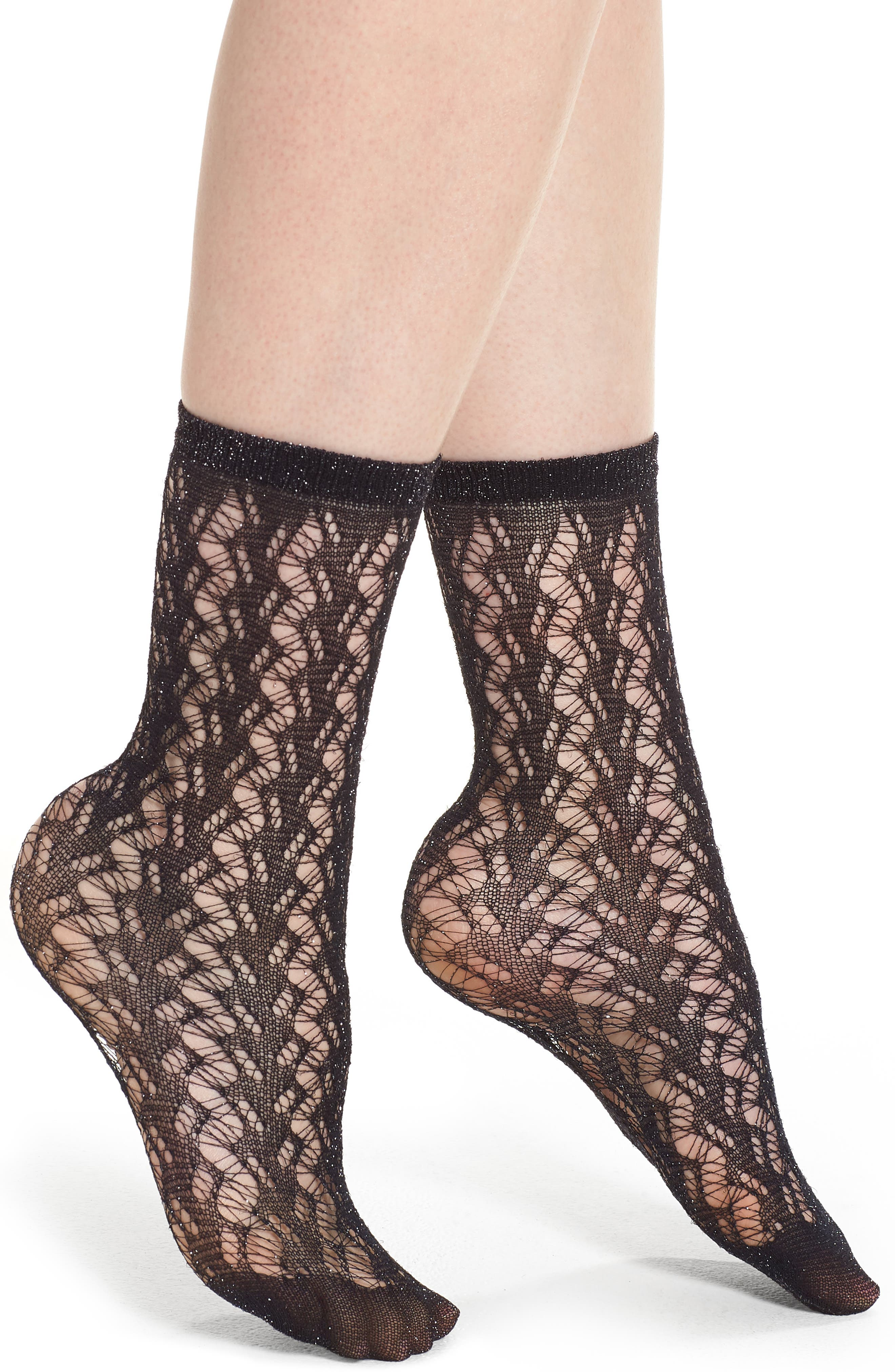 Calzino Glitter Fishnet Trouser Socks,                             Main thumbnail 1, color,                             Black
