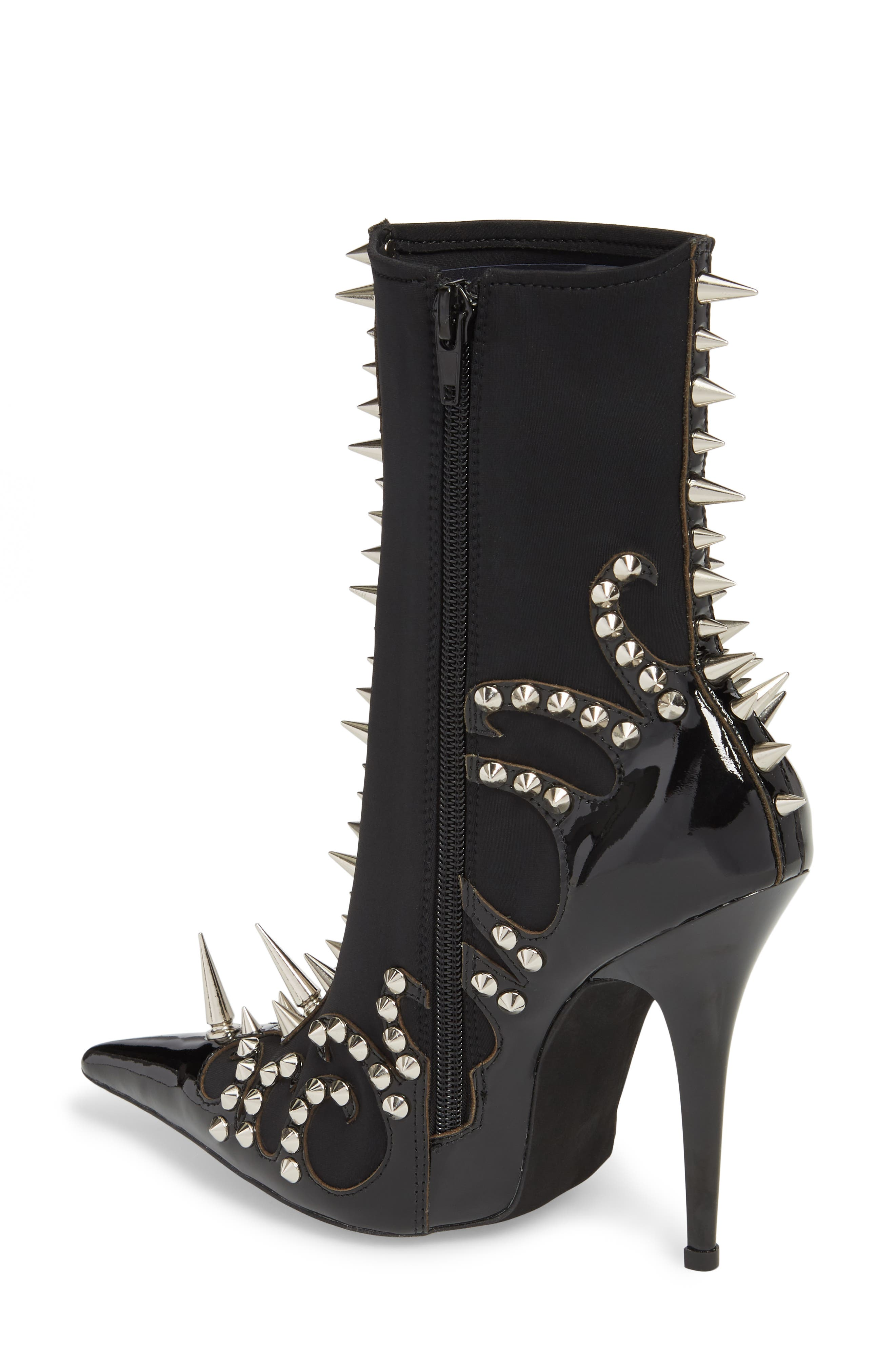 Savage Spike Bootie,                             Alternate thumbnail 2, color,                             Black/ Silver Patent Leather